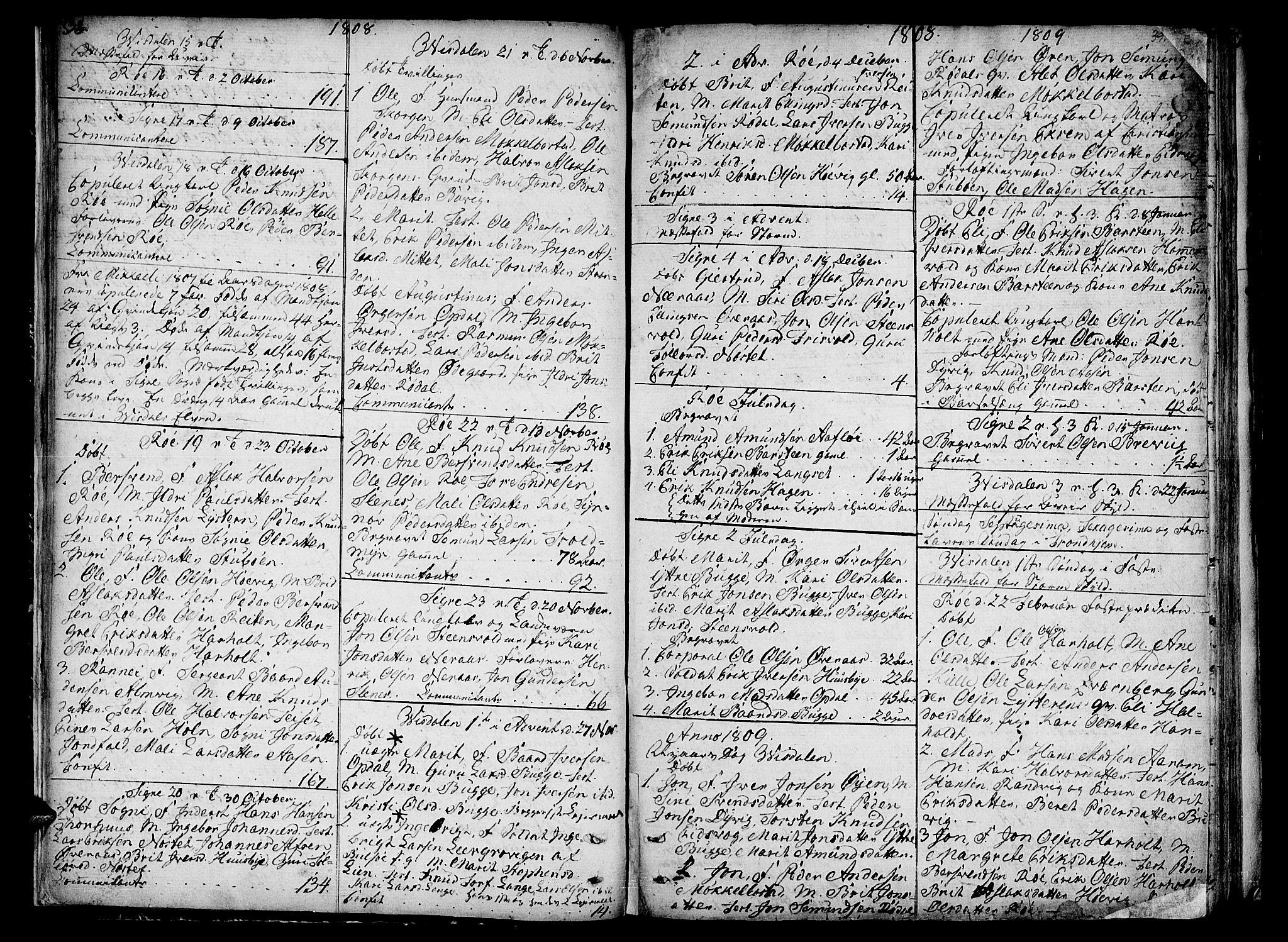SAT, Ministerialprotokoller, klokkerbøker og fødselsregistre - Møre og Romsdal, 551/L0622: Ministerialbok nr. 551A02, 1804-1845, s. 38-39
