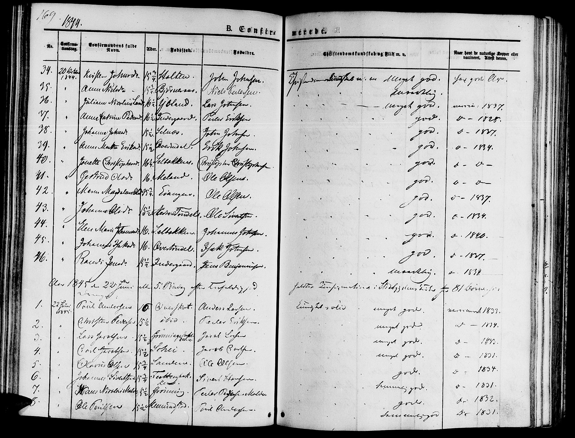 SAT, Ministerialprotokoller, klokkerbøker og fødselsregistre - Sør-Trøndelag, 646/L0610: Ministerialbok nr. 646A08, 1837-1847, s. 169
