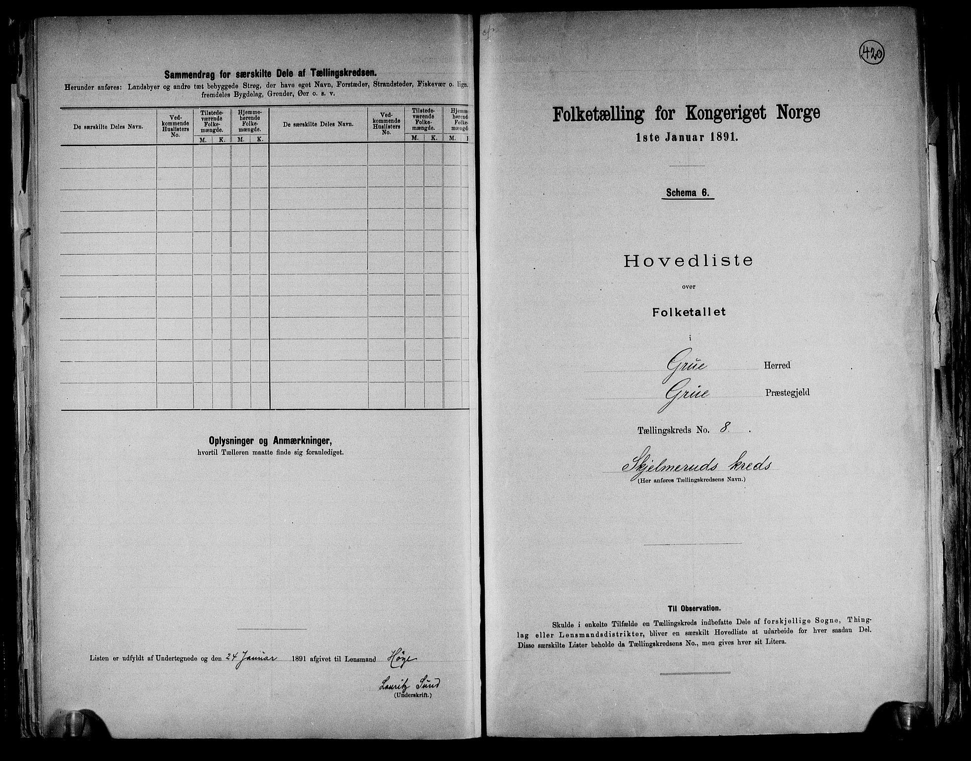 RA, Folketelling 1891 for 0423 Grue herred, 1891, s. 24