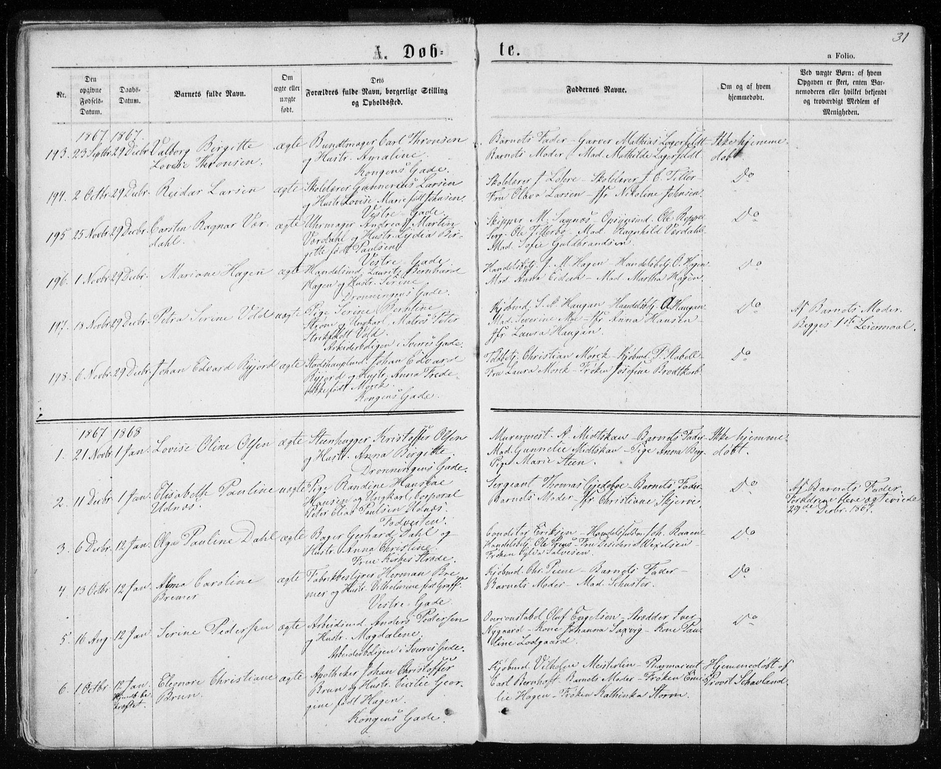 SAT, Ministerialprotokoller, klokkerbøker og fødselsregistre - Sør-Trøndelag, 601/L0054: Ministerialbok nr. 601A22, 1866-1877, s. 31