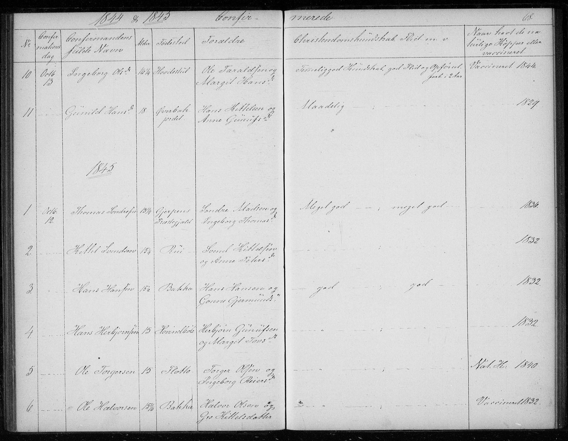 SAKO, Gransherad kirkebøker, F/Fb/L0003: Ministerialbok nr. II 3, 1844-1859, s. 68