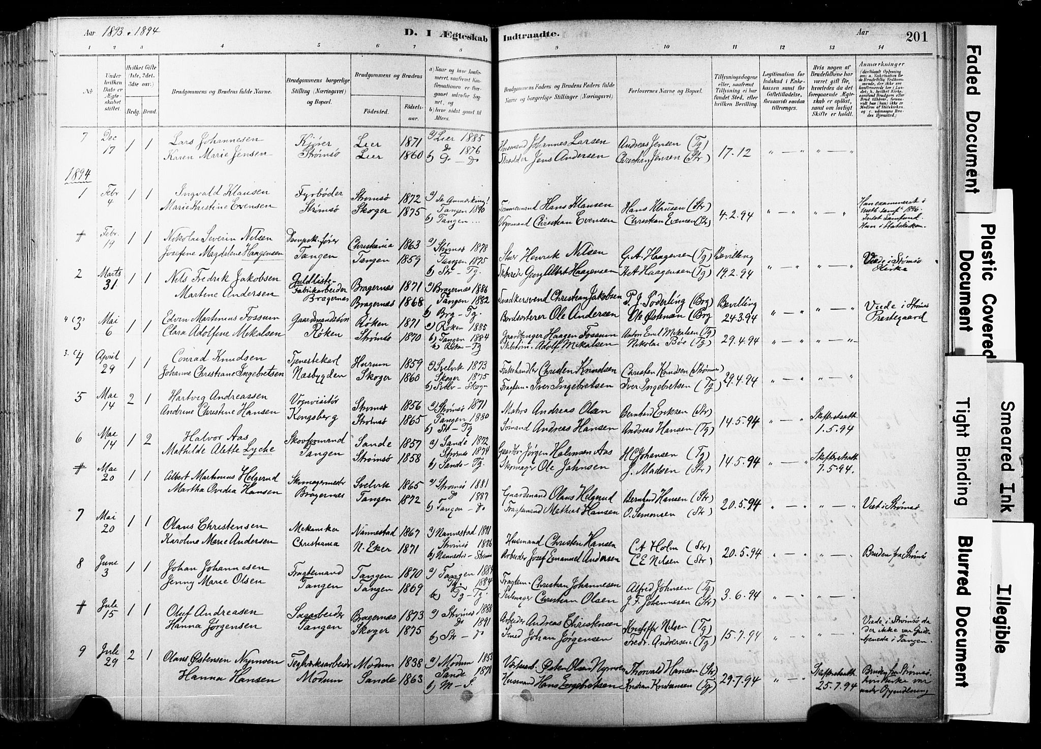 SAKO, Strømsø kirkebøker, F/Fb/L0006: Ministerialbok nr. II 6, 1879-1910, s. 201