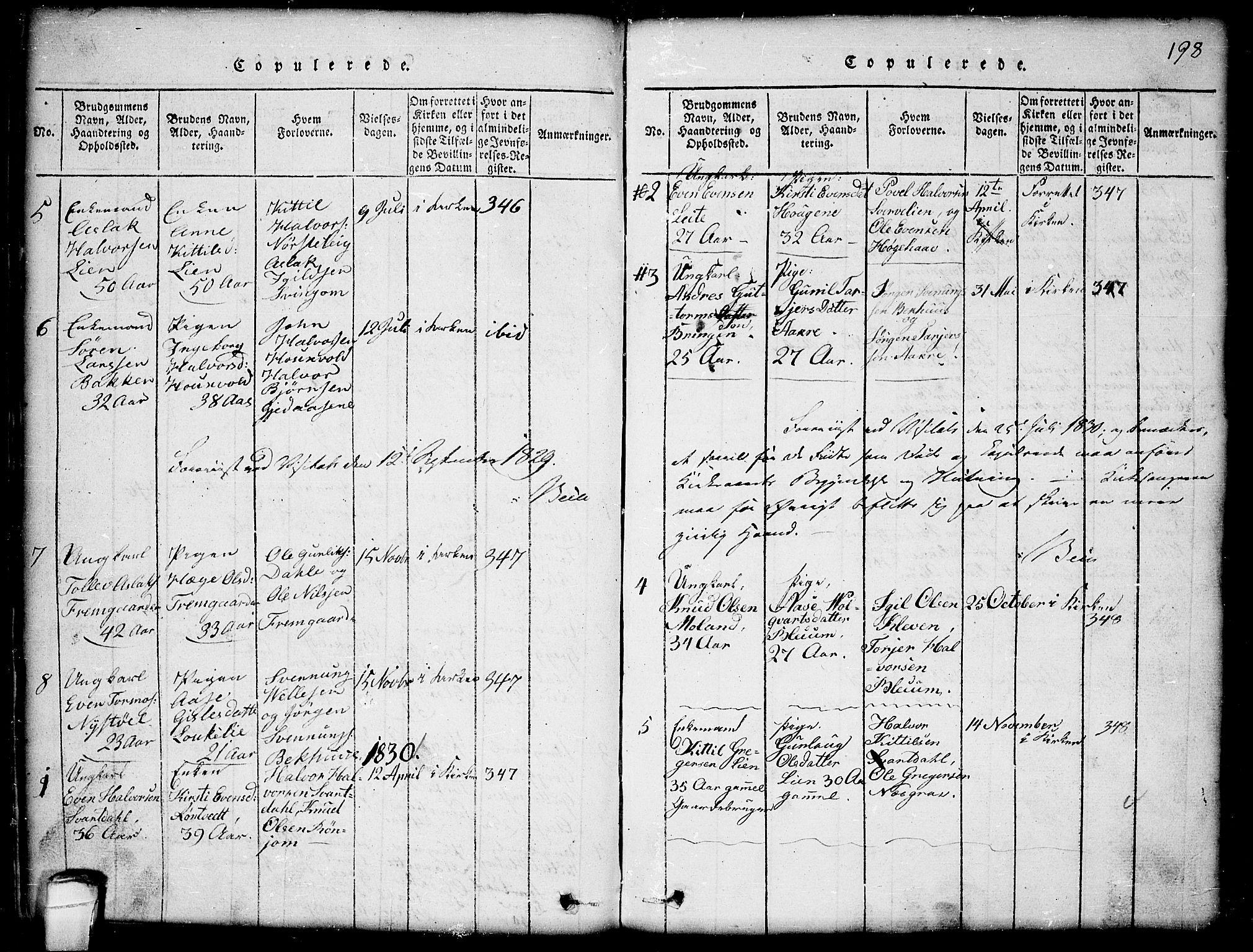 SAKO, Seljord kirkebøker, G/Gb/L0002: Klokkerbok nr. II 2, 1815-1854, s. 198