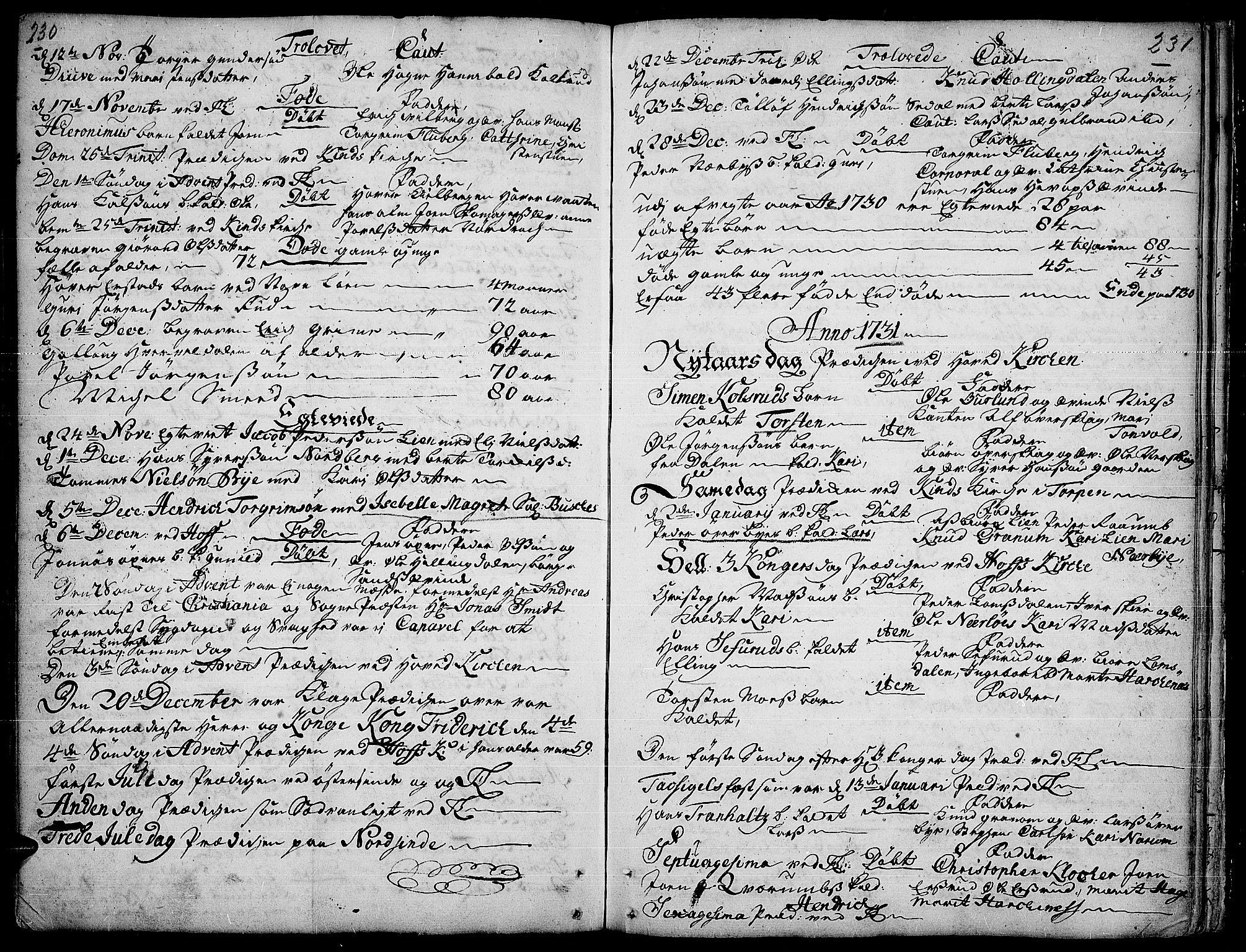 SAH, Land prestekontor, Ministerialbok nr. 1, 1708-1732, s. 230-231