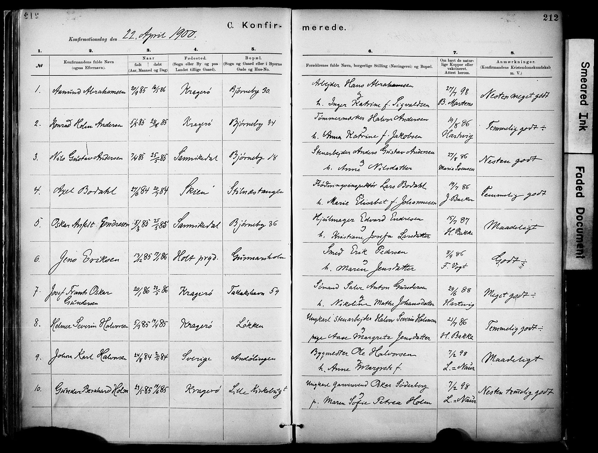 SAKO, Kragerø kirkebøker, F/Fa/L0012: Ministerialbok nr. I 12, 1880-1904, s. 212