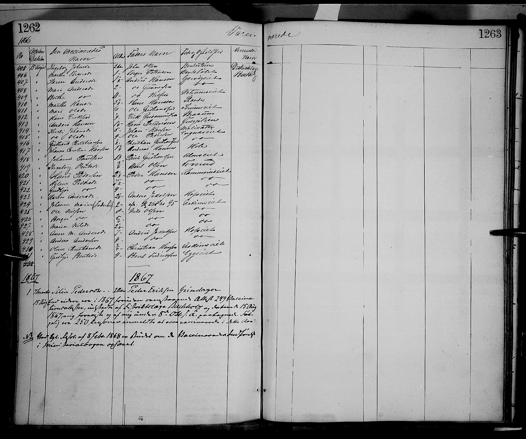 SAH, Gran prestekontor, Ministerialbok nr. 12, 1856-1874, s. 1262-1263