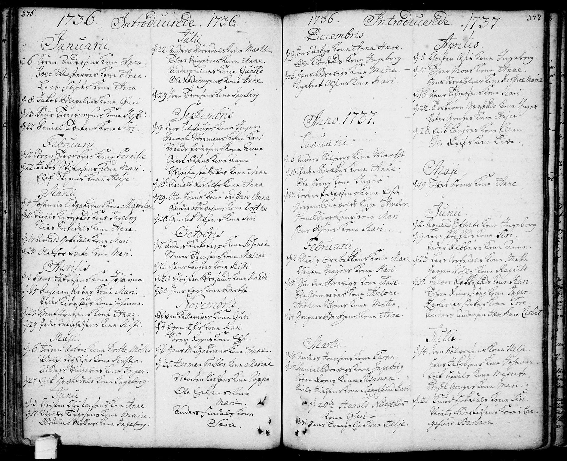 SAKO, Bamble kirkebøker, F/Fa/L0001: Ministerialbok nr. I 1, 1702-1774, s. 376-377