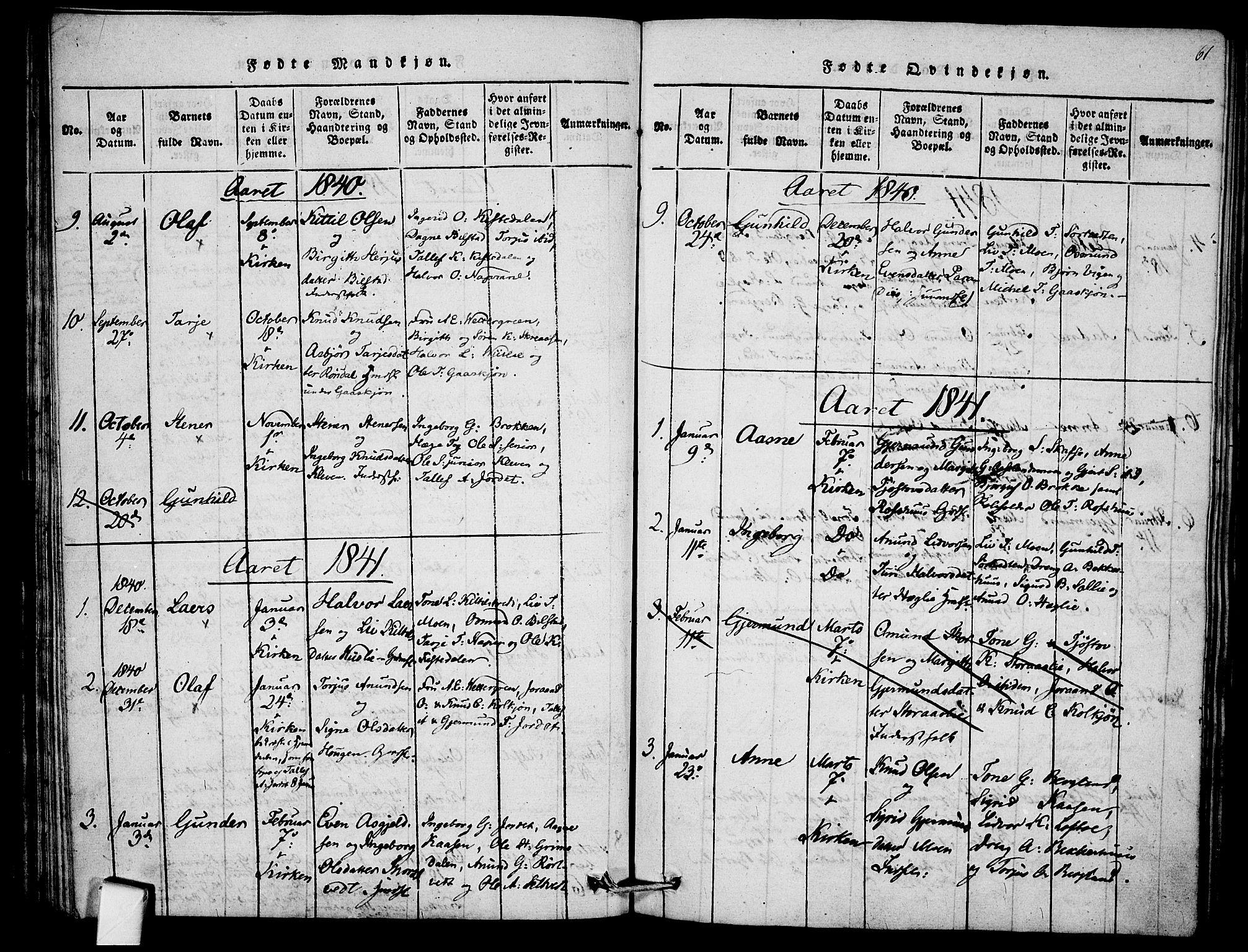 SAKO, Mo kirkebøker, F/Fb/L0001: Ministerialbok nr. II 1, 1814-1844, s. 61