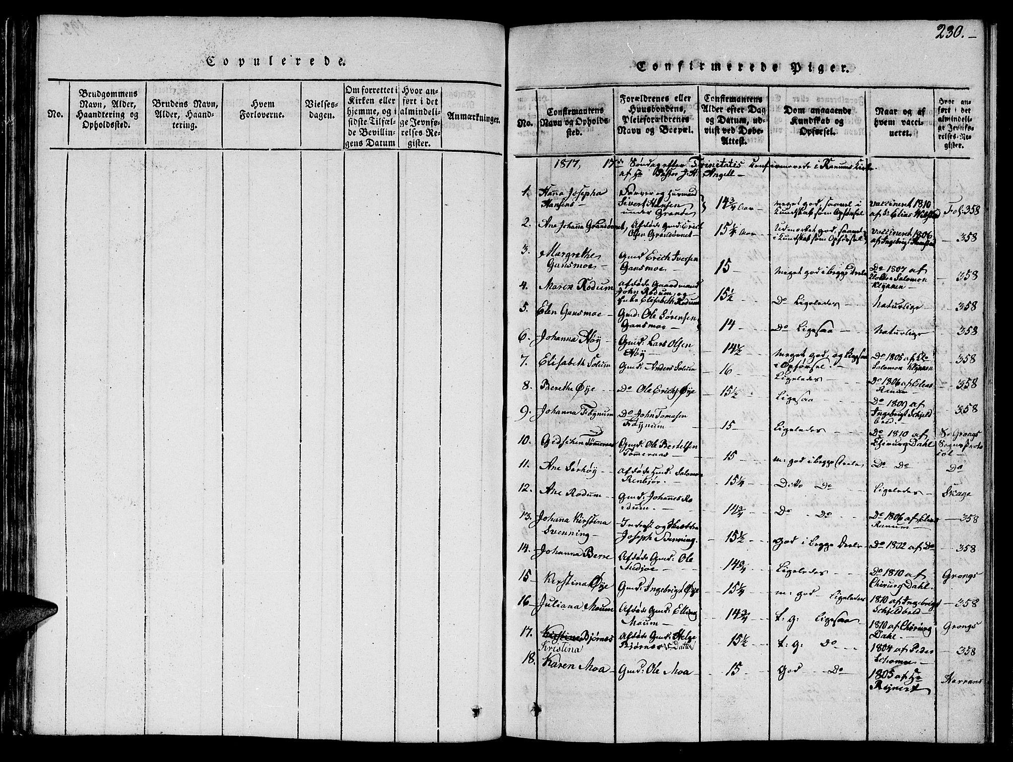 SAT, Ministerialprotokoller, klokkerbøker og fødselsregistre - Nord-Trøndelag, 764/L0559: Klokkerbok nr. 764C01, 1816-1824, s. 230
