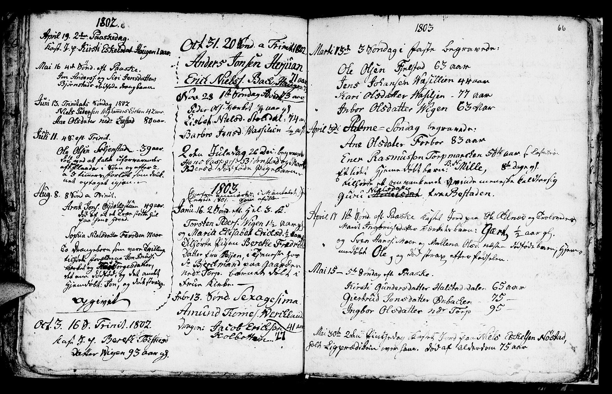 SAT, Ministerialprotokoller, klokkerbøker og fødselsregistre - Sør-Trøndelag, 616/L0419: Klokkerbok nr. 616C02, 1797-1816, s. 66