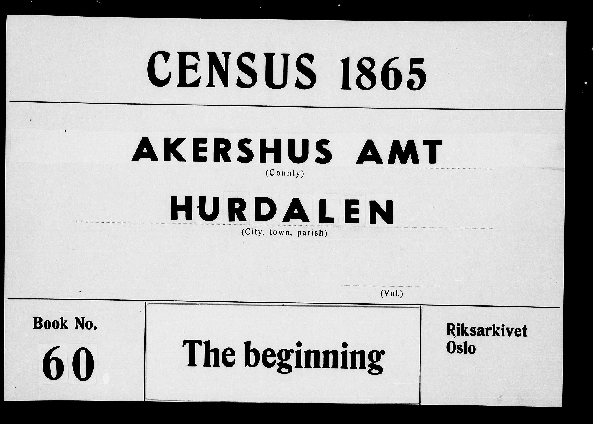 RA, Folketelling 1865 for 0239P Hurdal prestegjeld, 1865, s. 1
