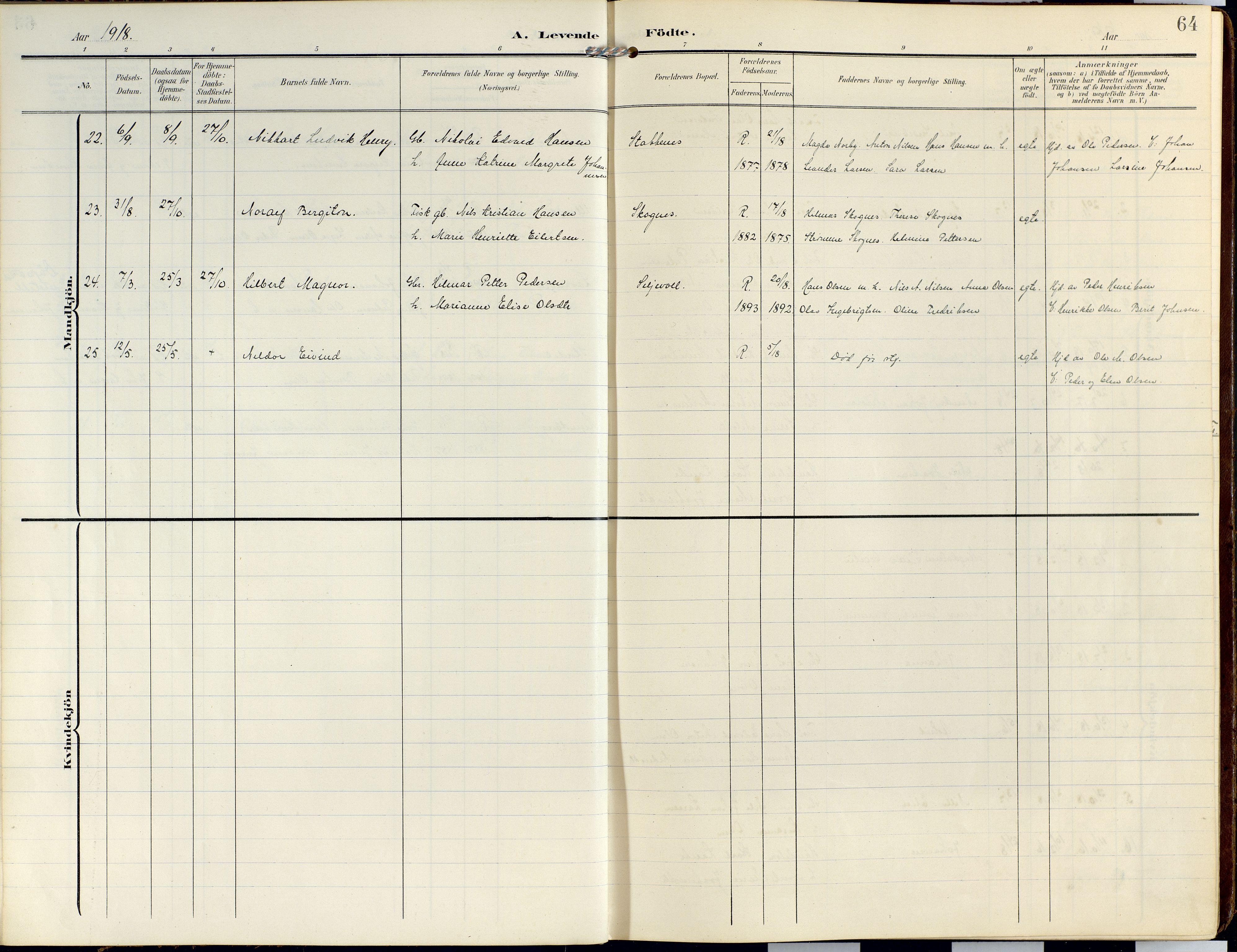 SATØ, Lyngen sokneprestembete, Ministerialbok nr. 14, 1905-1920, s. 64