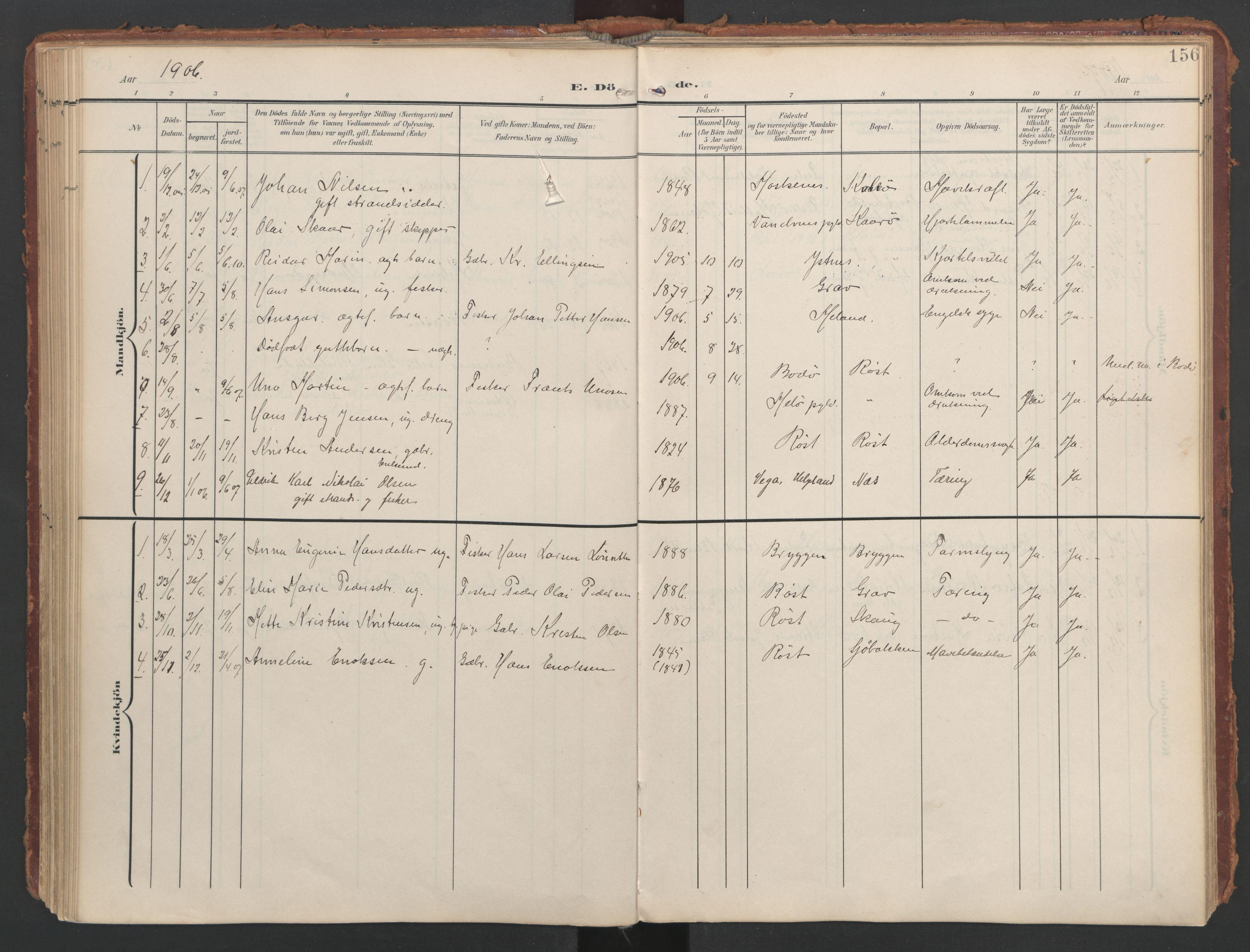 SAT, Ministerialprotokoller, klokkerbøker og fødselsregistre - Nordland, 808/L0129: Ministerialbok nr. 808A02, 1903-1931, s. 156