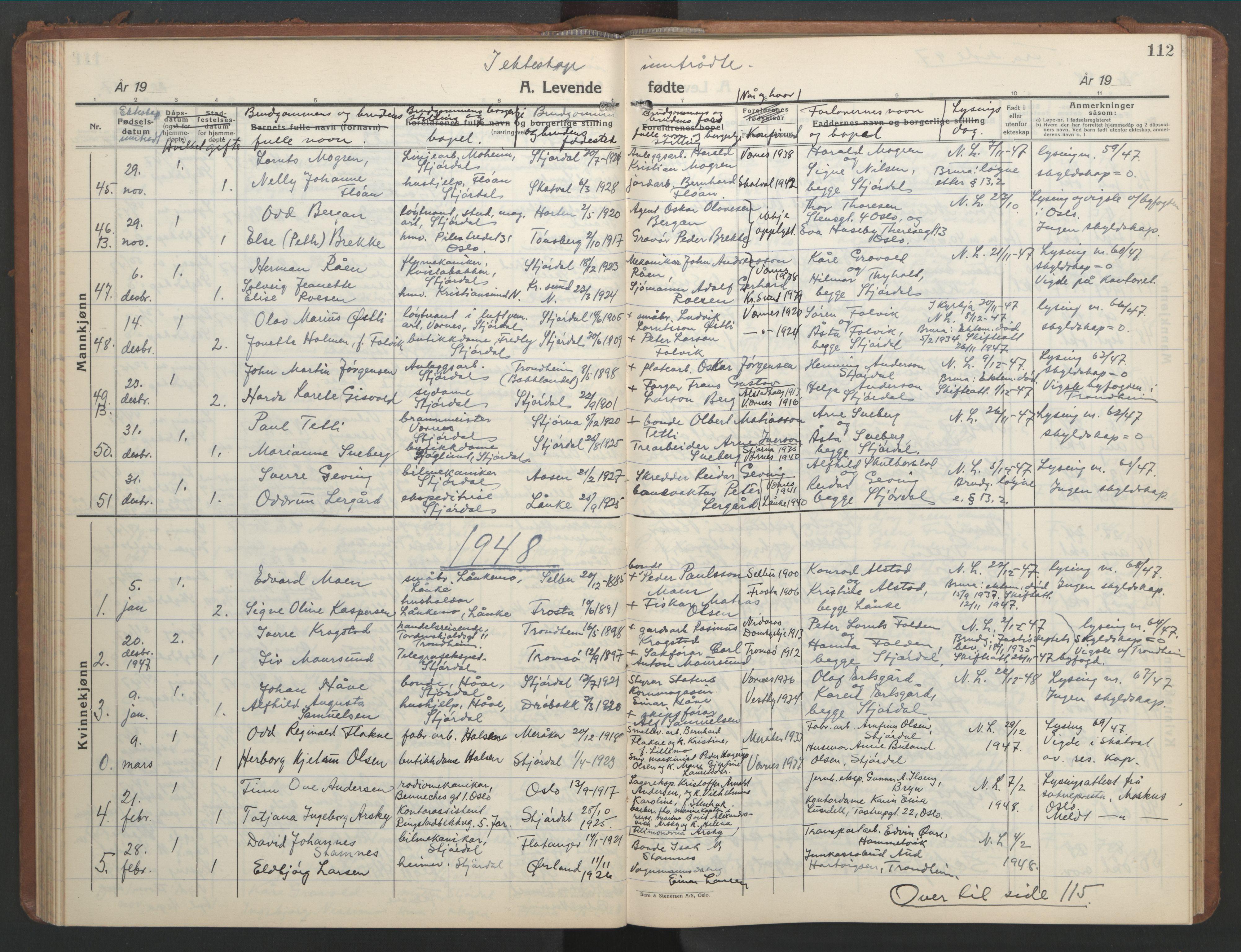 SAT, Ministerialprotokoller, klokkerbøker og fødselsregistre - Nord-Trøndelag, 709/L0089: Klokkerbok nr. 709C03, 1935-1948, s. 112