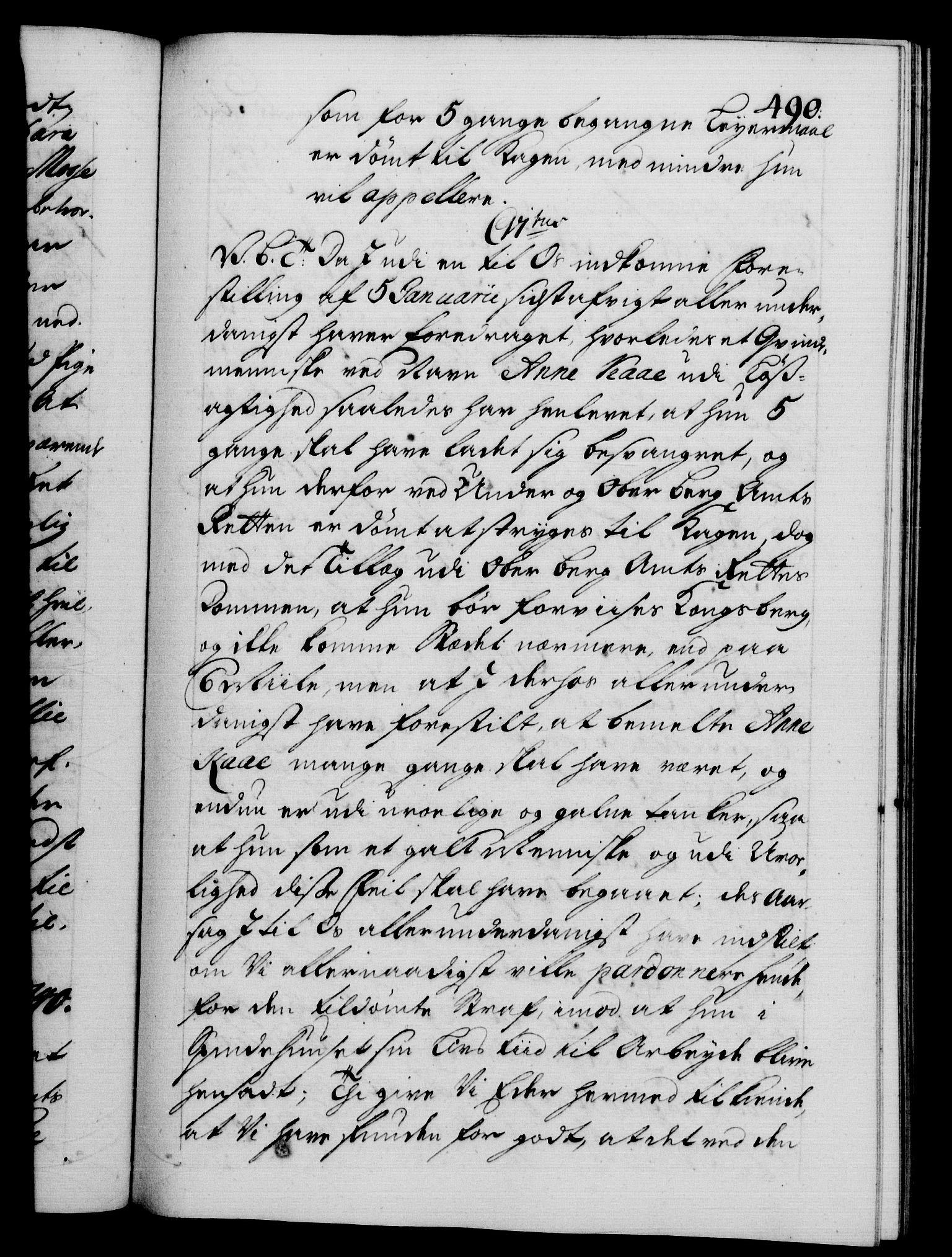 RA, Danske Kanselli 1572-1799, F/Fc/Fca/Fcab/L0028: Norske tegnelser, 1738-1740, s. 490a