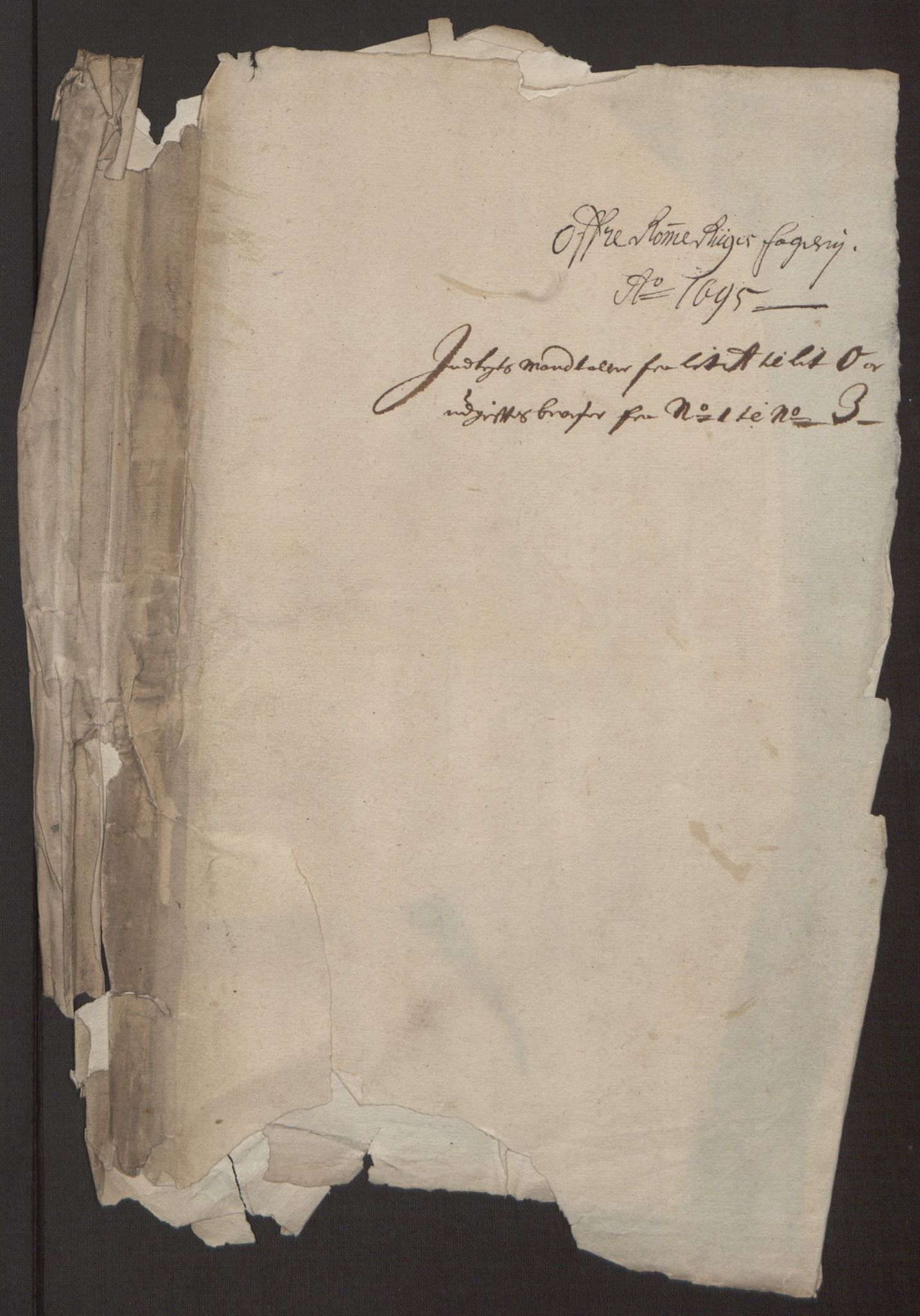 RA, Rentekammeret inntil 1814, Reviderte regnskaper, Fogderegnskap, R12/L0707: Fogderegnskap Øvre Romerike, 1695, s. 257