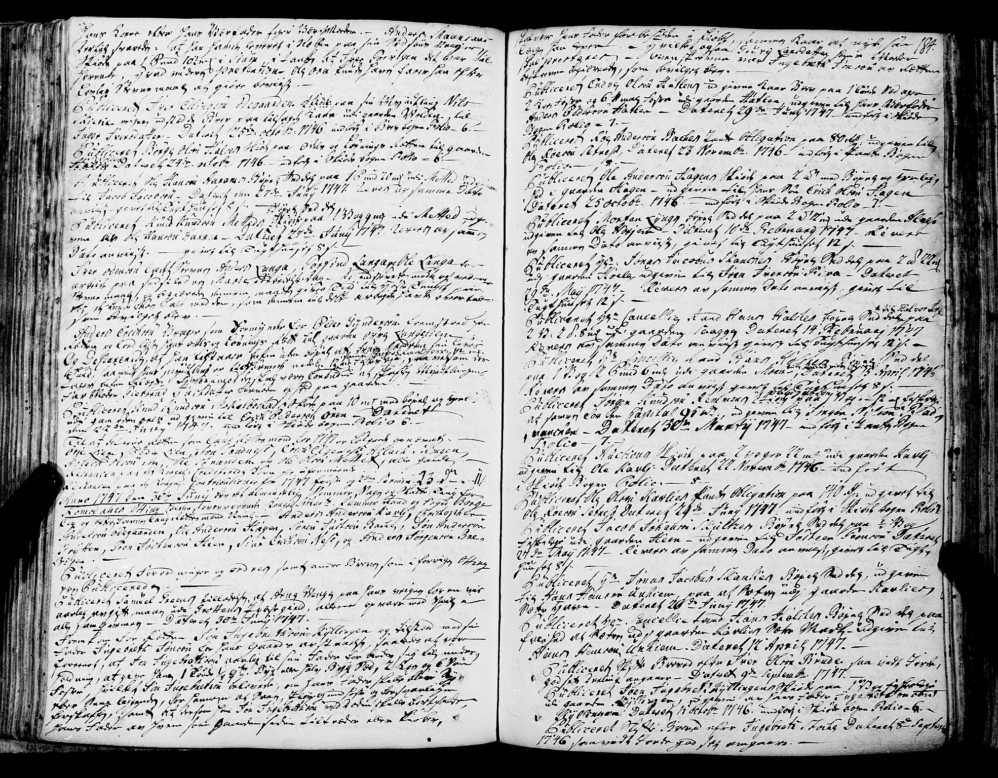SAT, Romsdal sorenskriveri, 1/1A/L0012: Tingbok, 1740-1749, s. 184b-185a