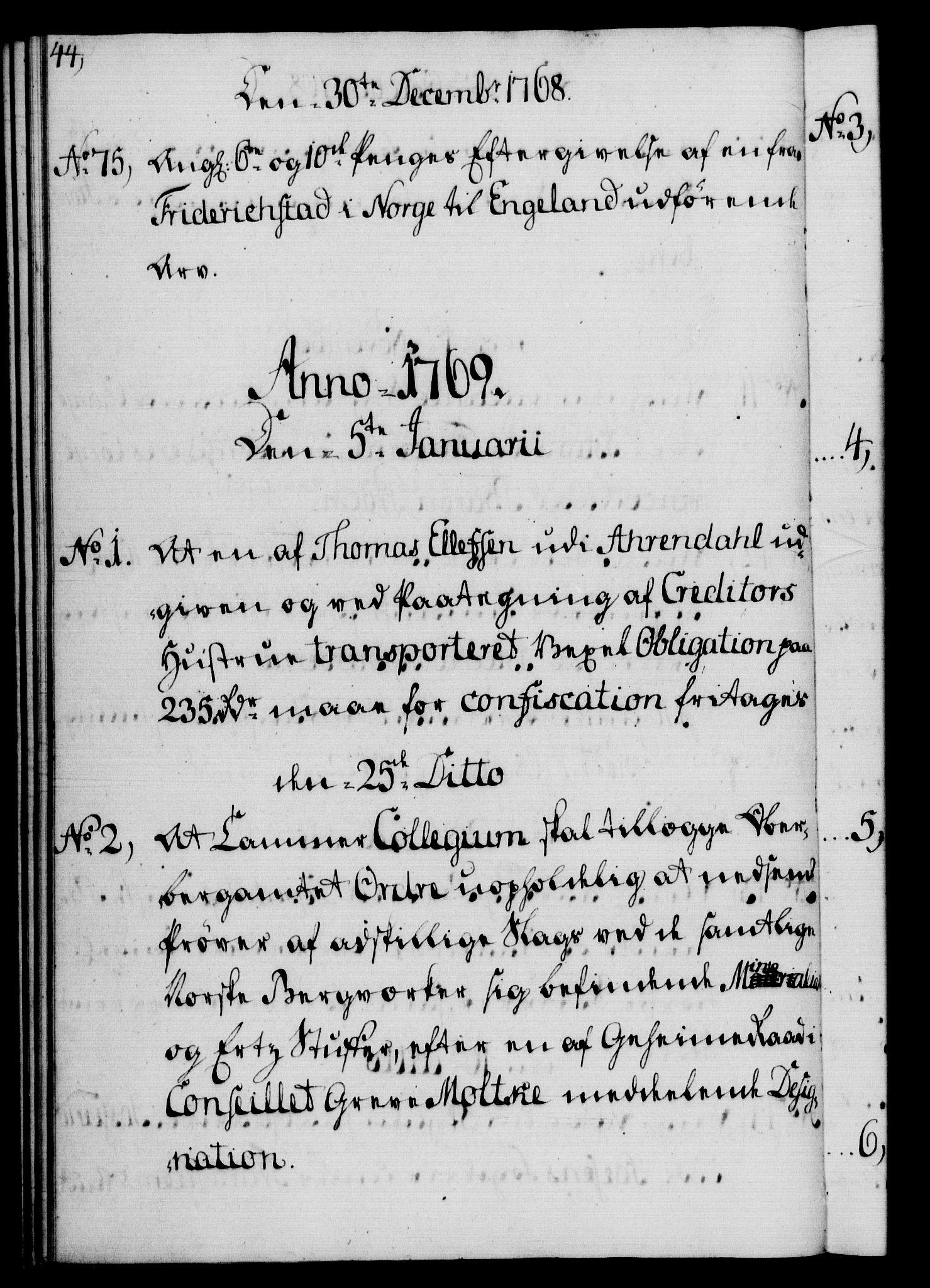 RA, Rentekammeret, Kammerkanselliet, G/Gf/Gfb/L0008: Register til norske relasjons- og resolusjonsprotokoller (merket RK 52.103), 1766-1771, s. 44