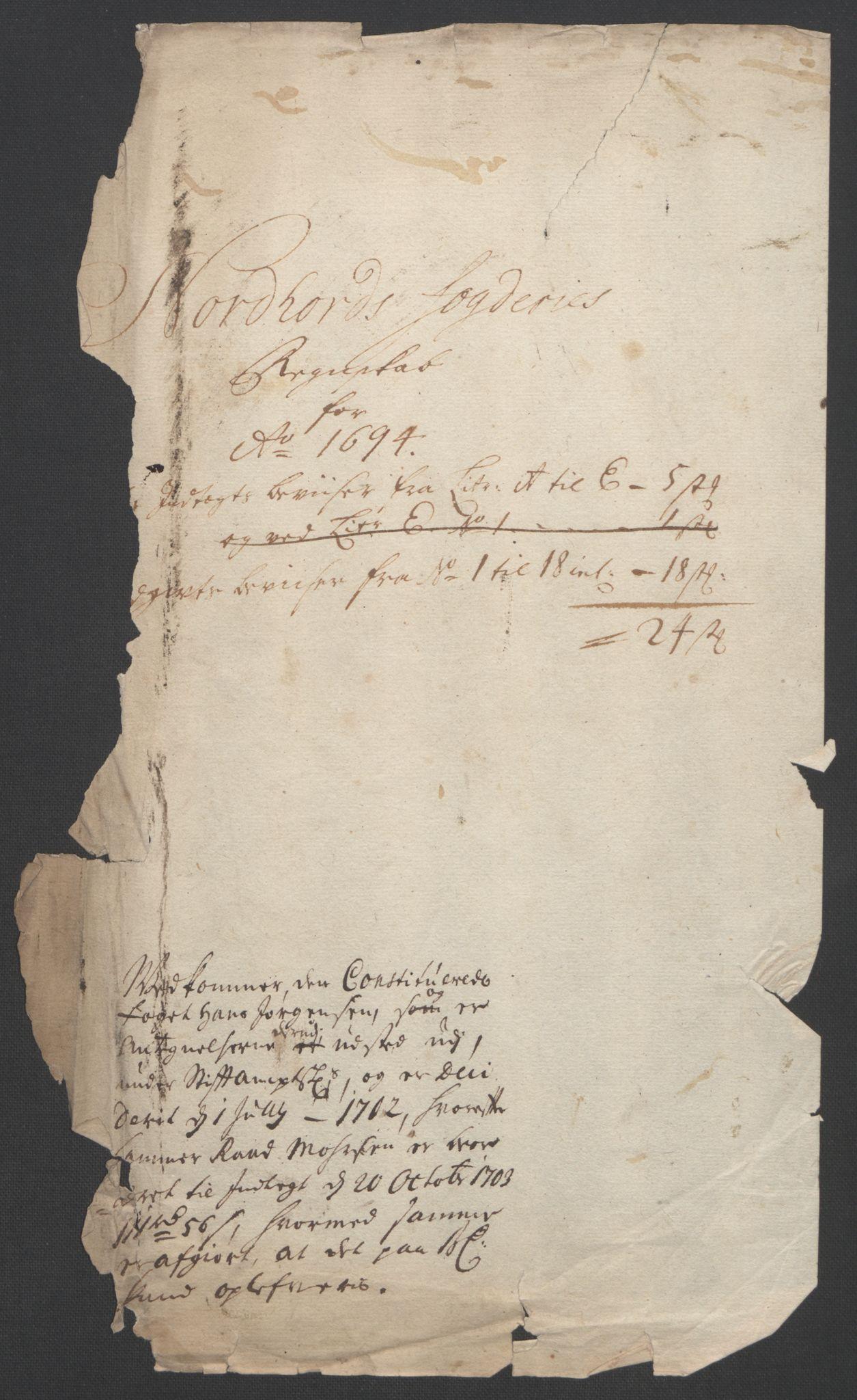 RA, Rentekammeret inntil 1814, Reviderte regnskaper, Fogderegnskap, R51/L3183: Fogderegnskap Nordhordland og Voss, 1695-1697, s. 3