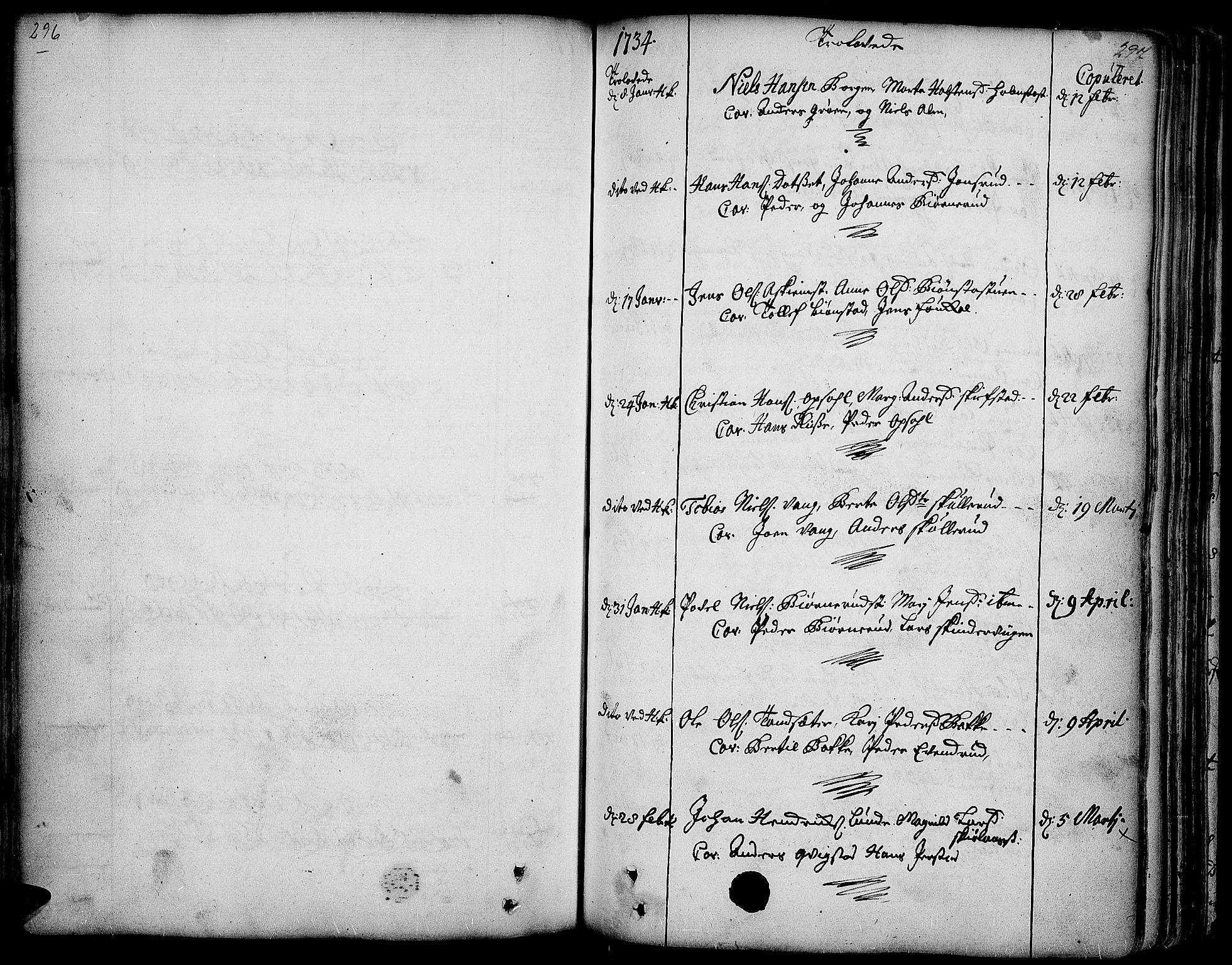SAH, Toten prestekontor, Ministerialbok nr. 3, 1734-1751, s. 296-297
