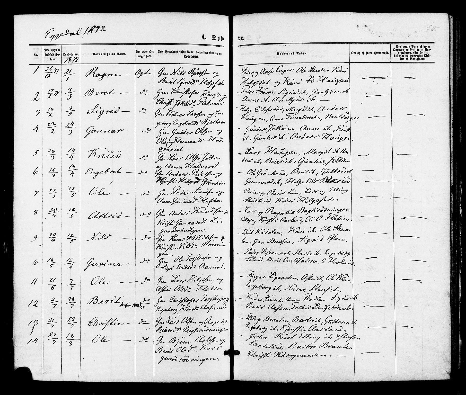 SAKO, Sigdal kirkebøker, F/Fa/L0010: Ministerialbok nr. I 10 /3, 1872-1878, s. 150