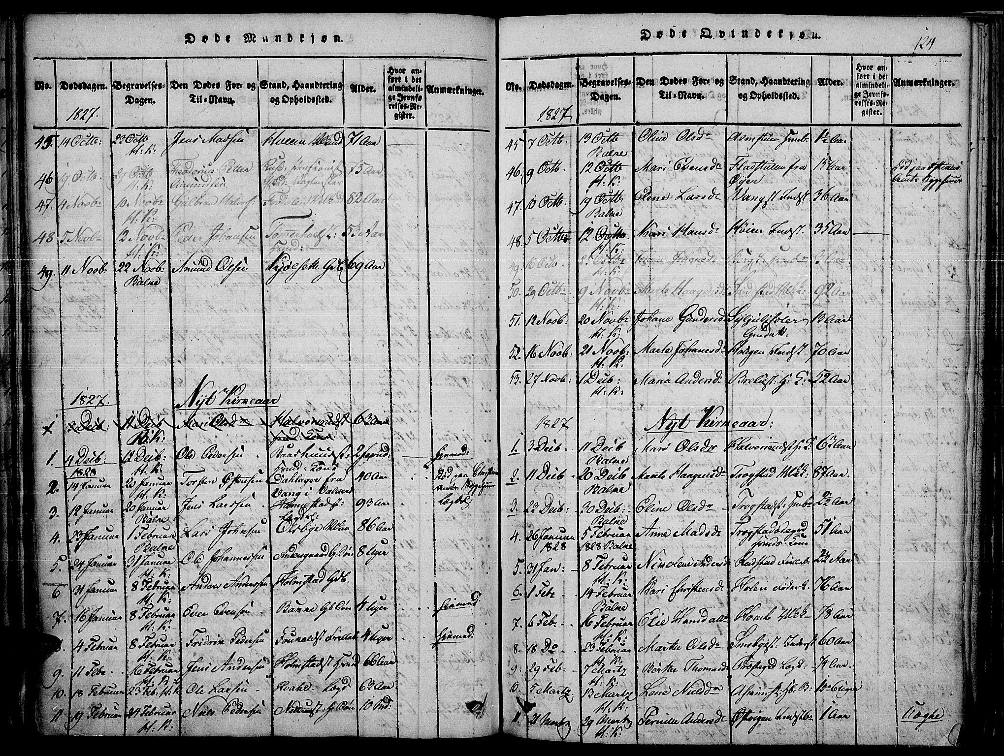 SAH, Toten prestekontor, Ministerialbok nr. 10, 1820-1828, s. 124