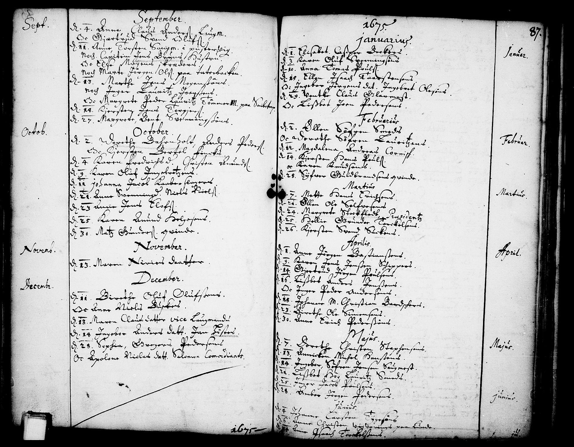 SAKO, Skien kirkebøker, F/Fa/L0001: Ministerialbok nr. 1, 1659-1679, s. 87