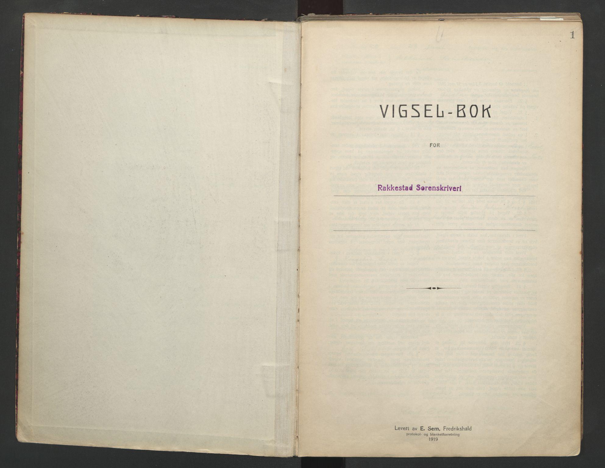 SAO, Rakkestad sorenskriveri, L/Lc/Lca/L0001: Vigselbøker, 1920-1942, s. 1