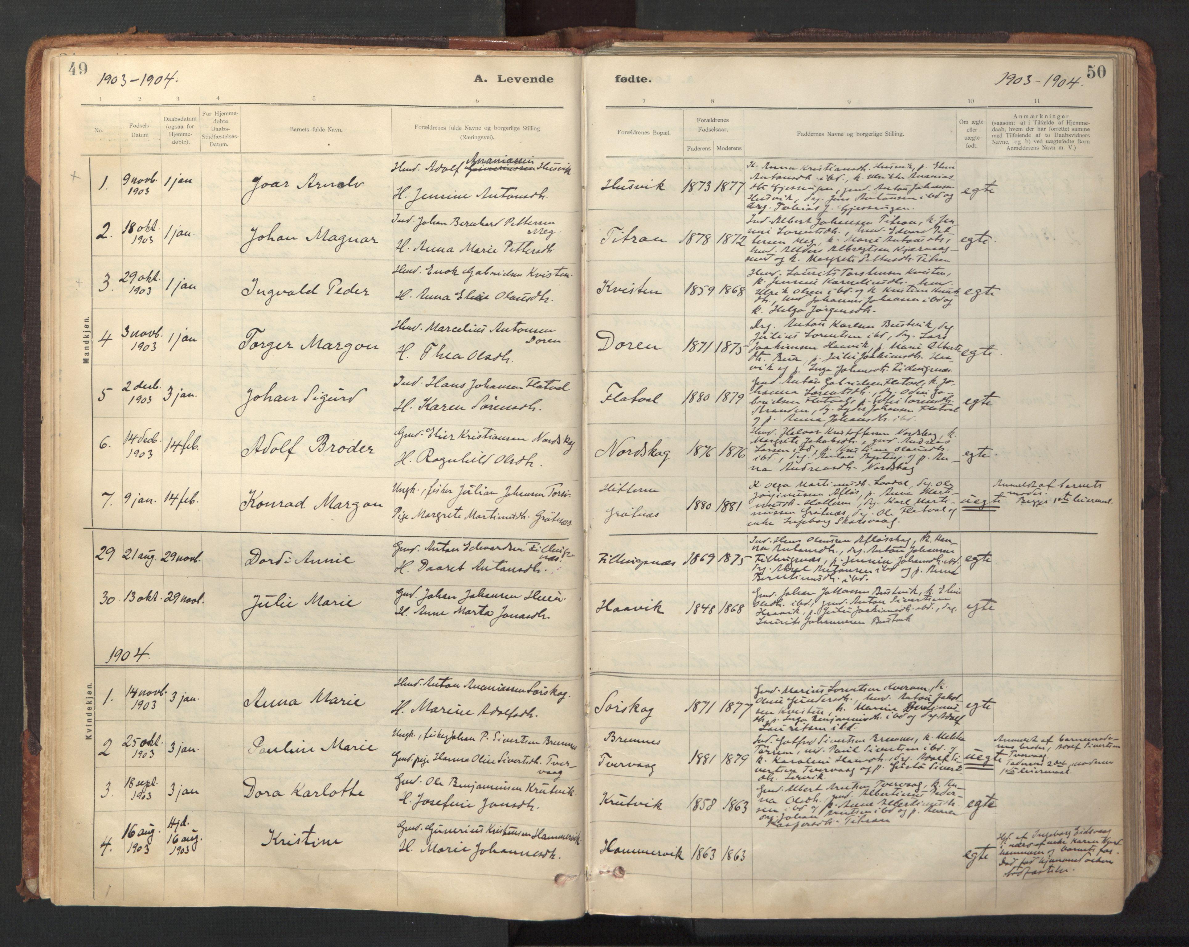 SAT, Ministerialprotokoller, klokkerbøker og fødselsregistre - Sør-Trøndelag, 641/L0596: Ministerialbok nr. 641A02, 1898-1915, s. 49-50