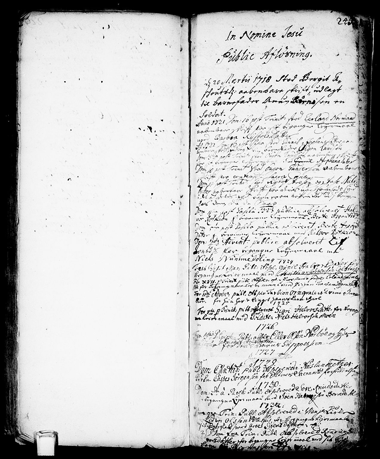 SAKO, Vinje kirkebøker, F/Fa/L0001: Ministerialbok nr. I 1, 1717-1766, s. 245