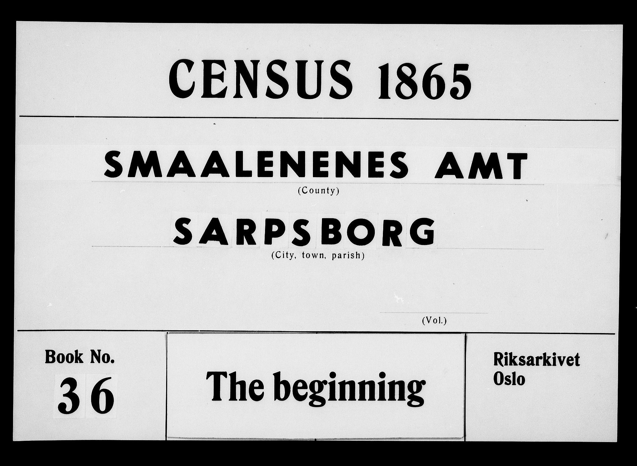 RA, Folketelling 1865 for 0102P Sarpsborg prestegjeld, 1865, s. 1