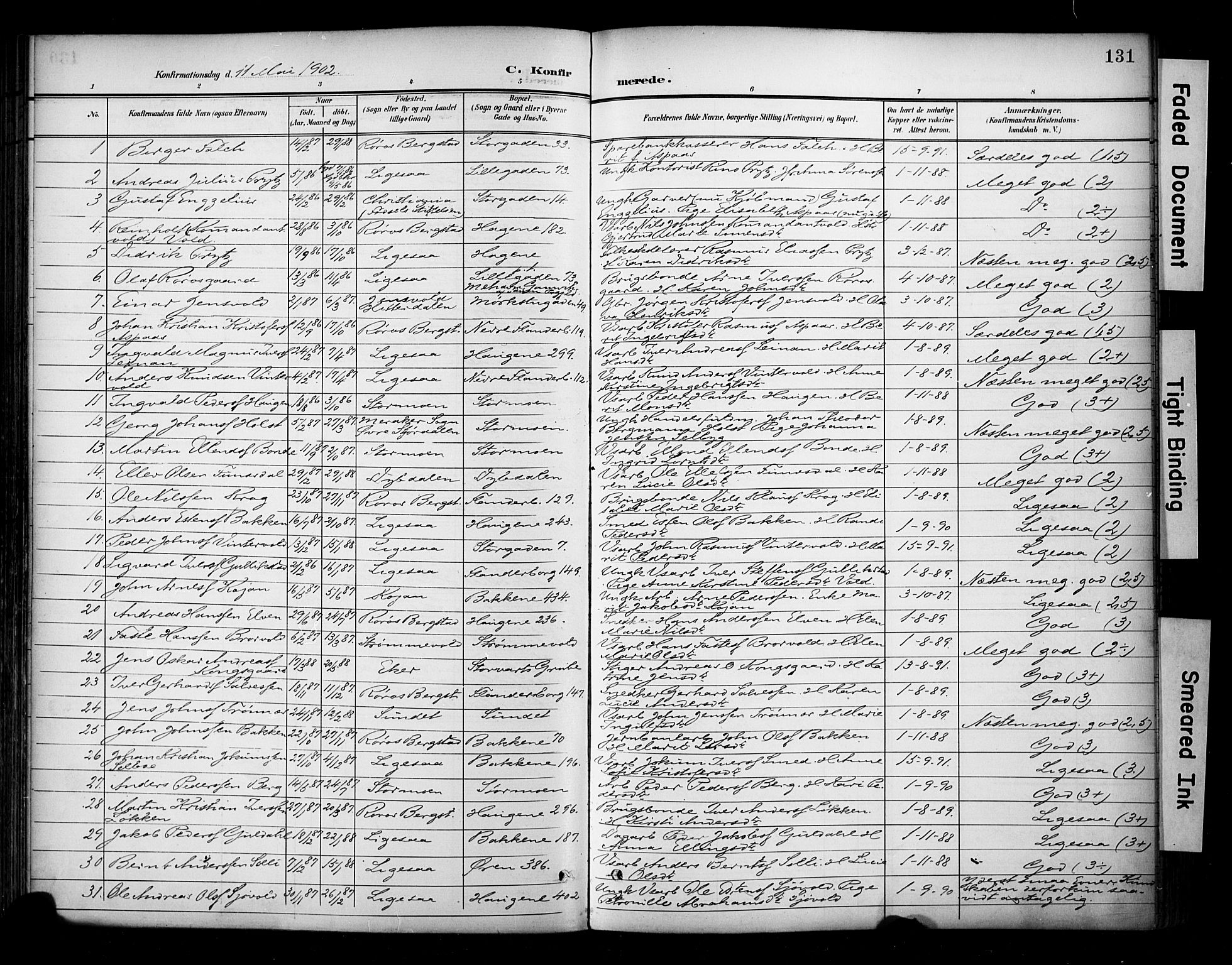 SAT, Ministerialprotokoller, klokkerbøker og fødselsregistre - Sør-Trøndelag, 681/L0936: Ministerialbok nr. 681A14, 1899-1908, s. 131