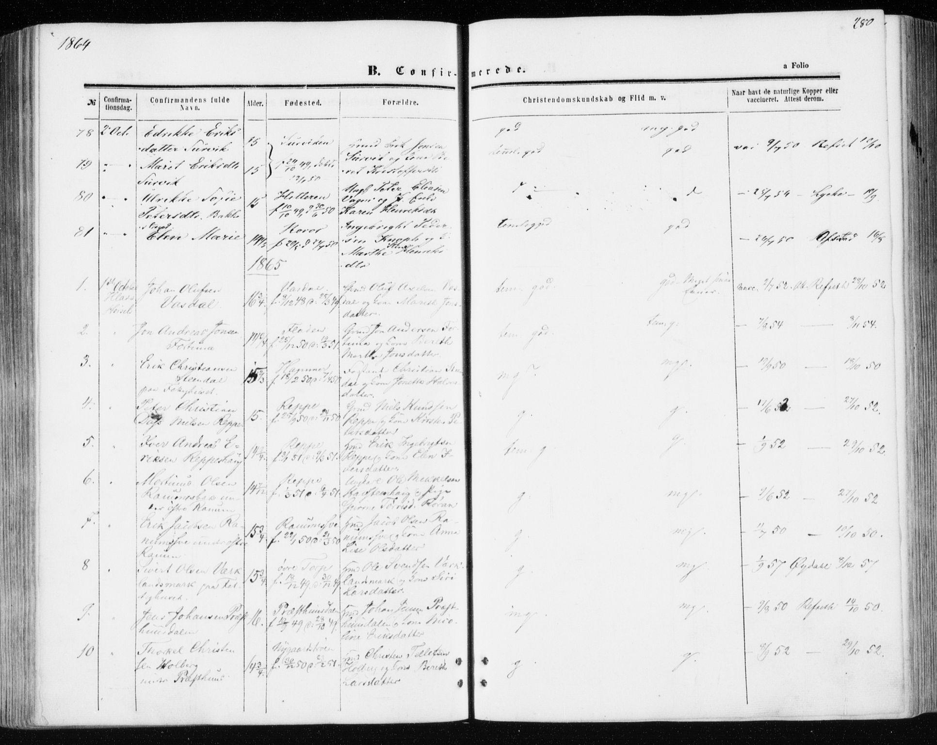 SAT, Ministerialprotokoller, klokkerbøker og fødselsregistre - Sør-Trøndelag, 606/L0292: Ministerialbok nr. 606A07, 1856-1865, s. 280