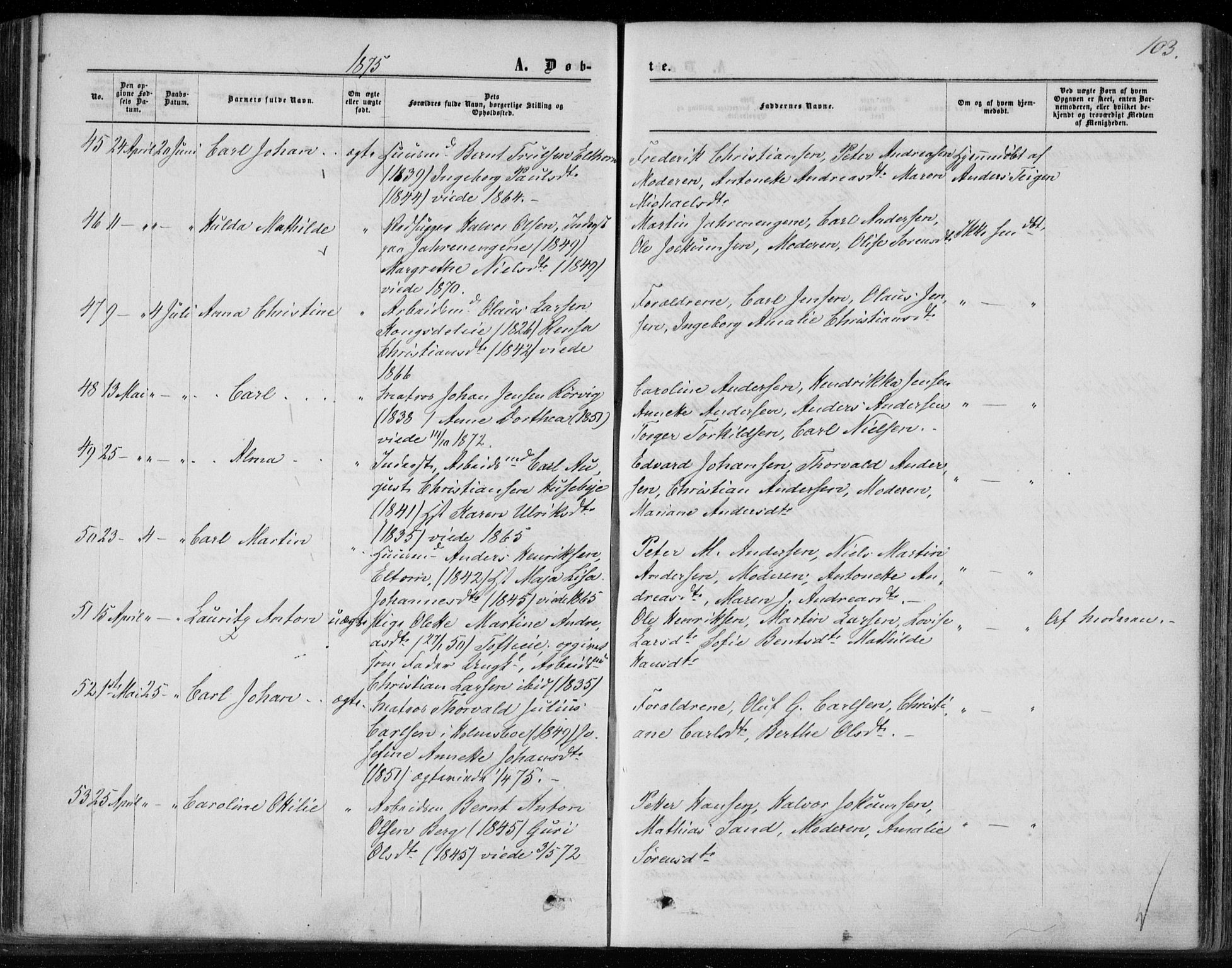 SAKO, Hurum kirkebøker, F/Fa/L0012: Ministerialbok nr. 12, 1861-1875, s. 103