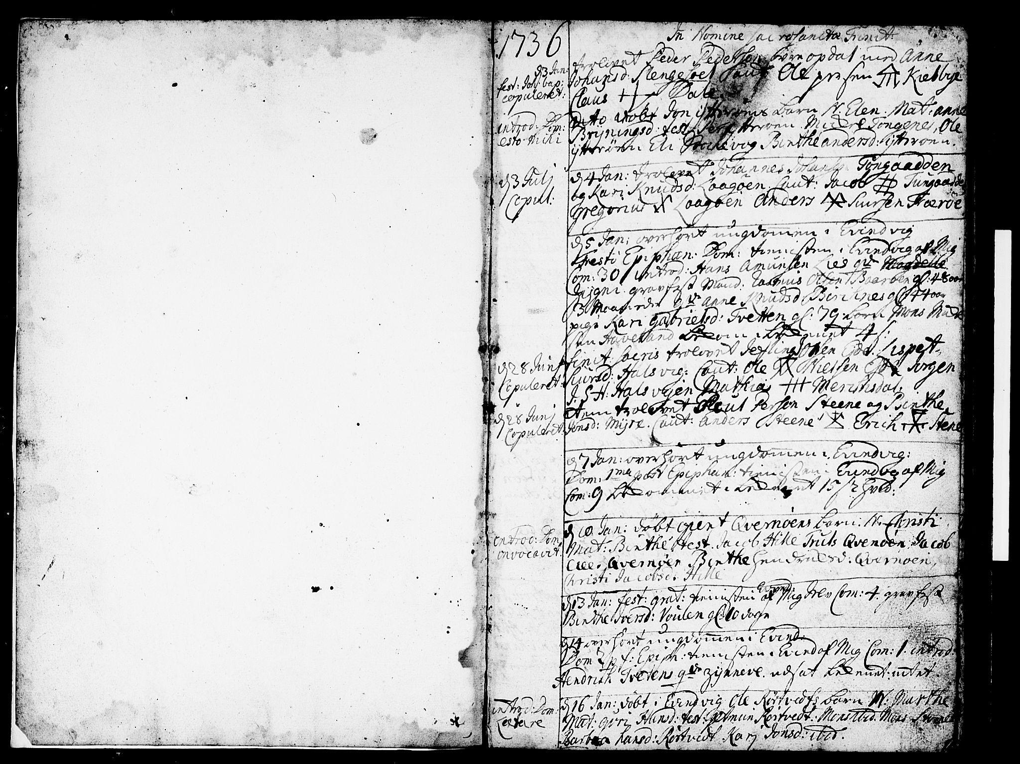 SAB, Gulen Sokneprestembete, Ministerialbok nr. A 11, 1736-1749, s. 2