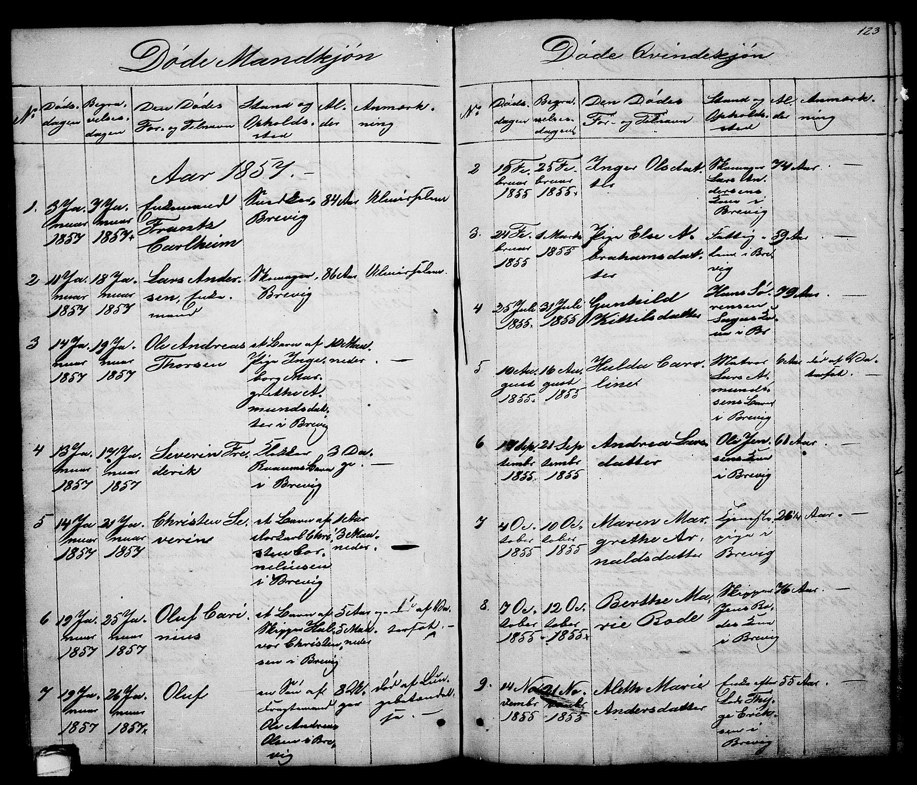 SAKO, Brevik kirkebøker, G/Ga/L0002: Klokkerbok nr. 2, 1846-1865, s. 123
