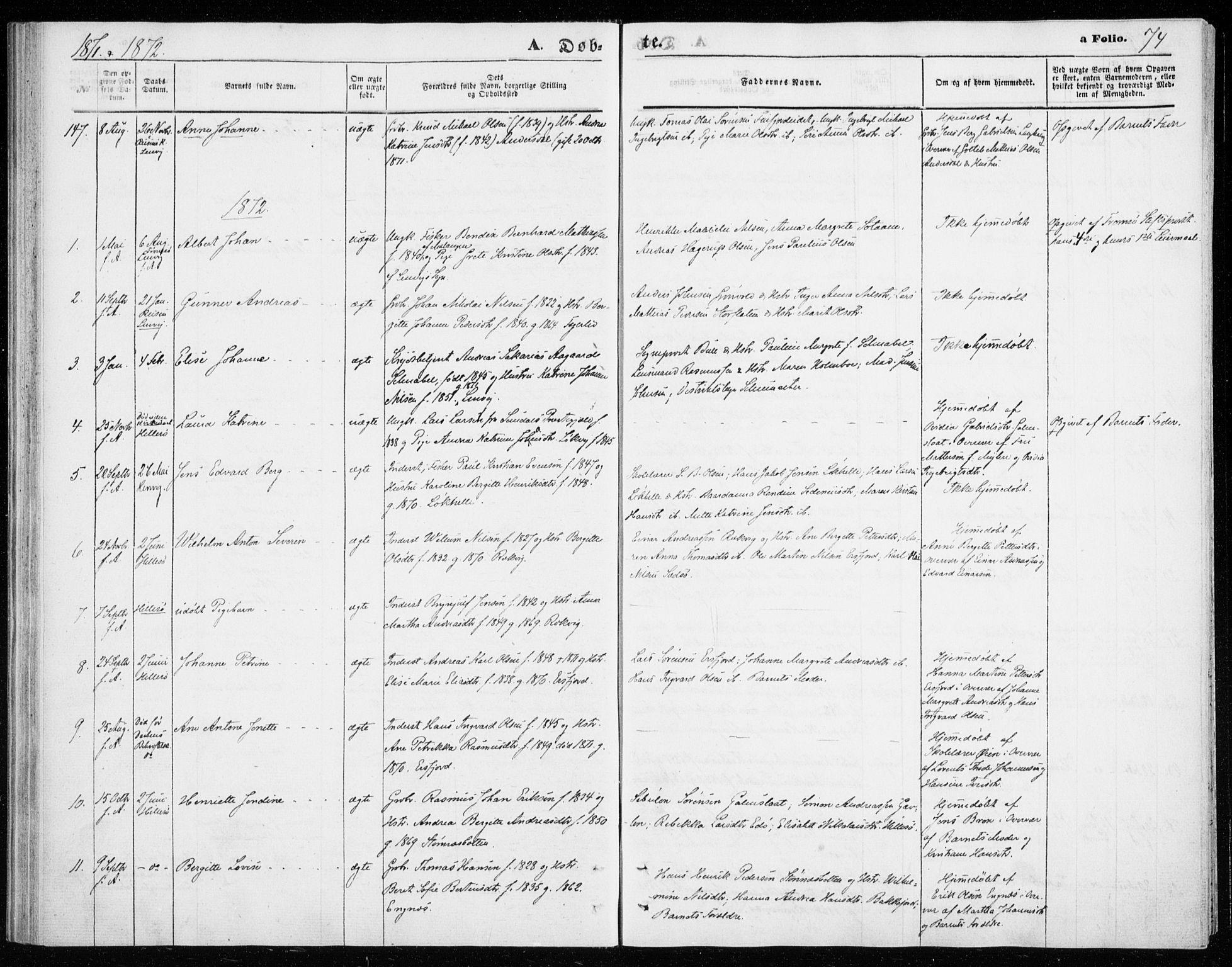 SATØ, Lenvik sokneprestembete, H/Ha: Ministerialbok nr. 9, 1866-1873, s. 74