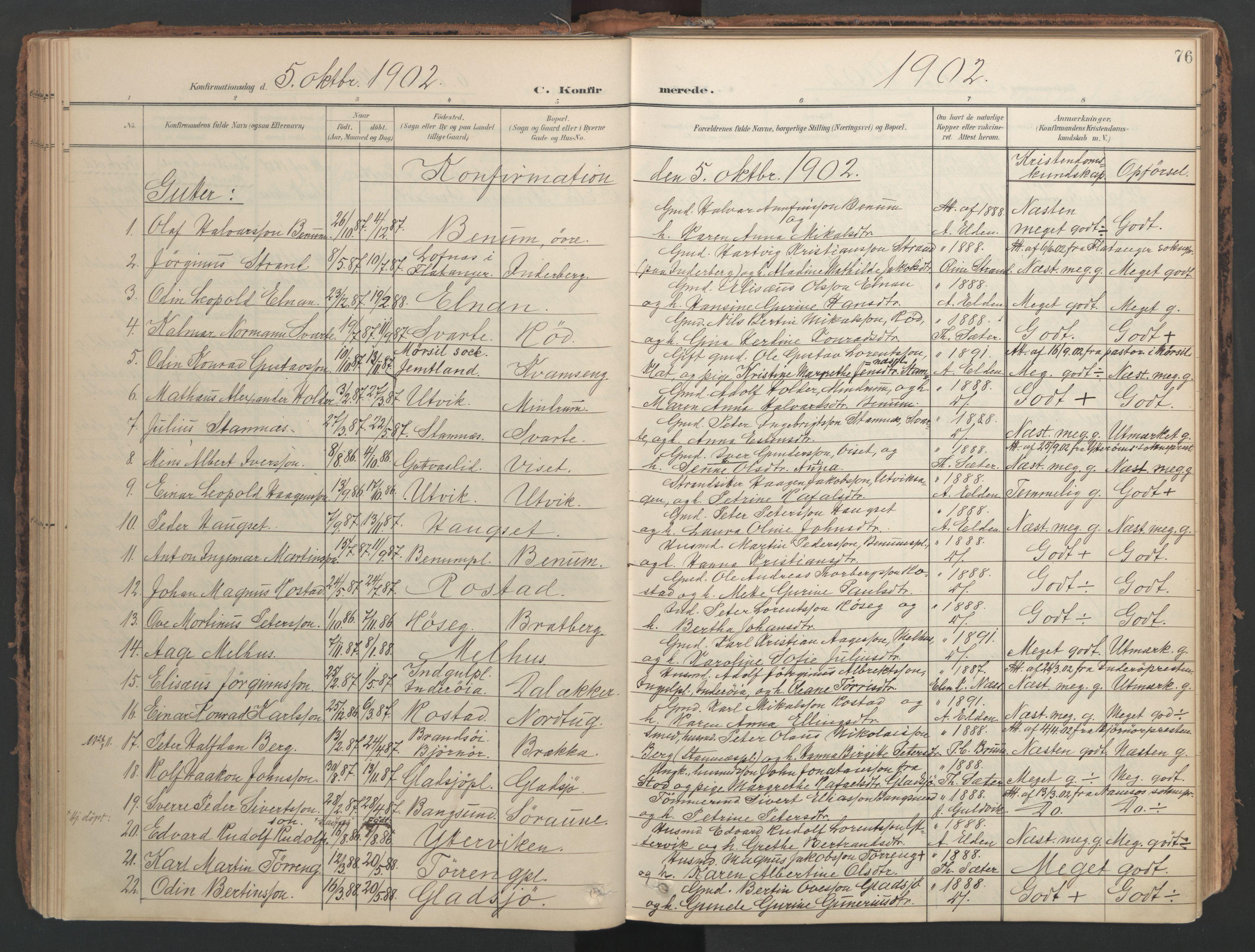 SAT, Ministerialprotokoller, klokkerbøker og fødselsregistre - Nord-Trøndelag, 741/L0397: Ministerialbok nr. 741A11, 1901-1911, s. 76