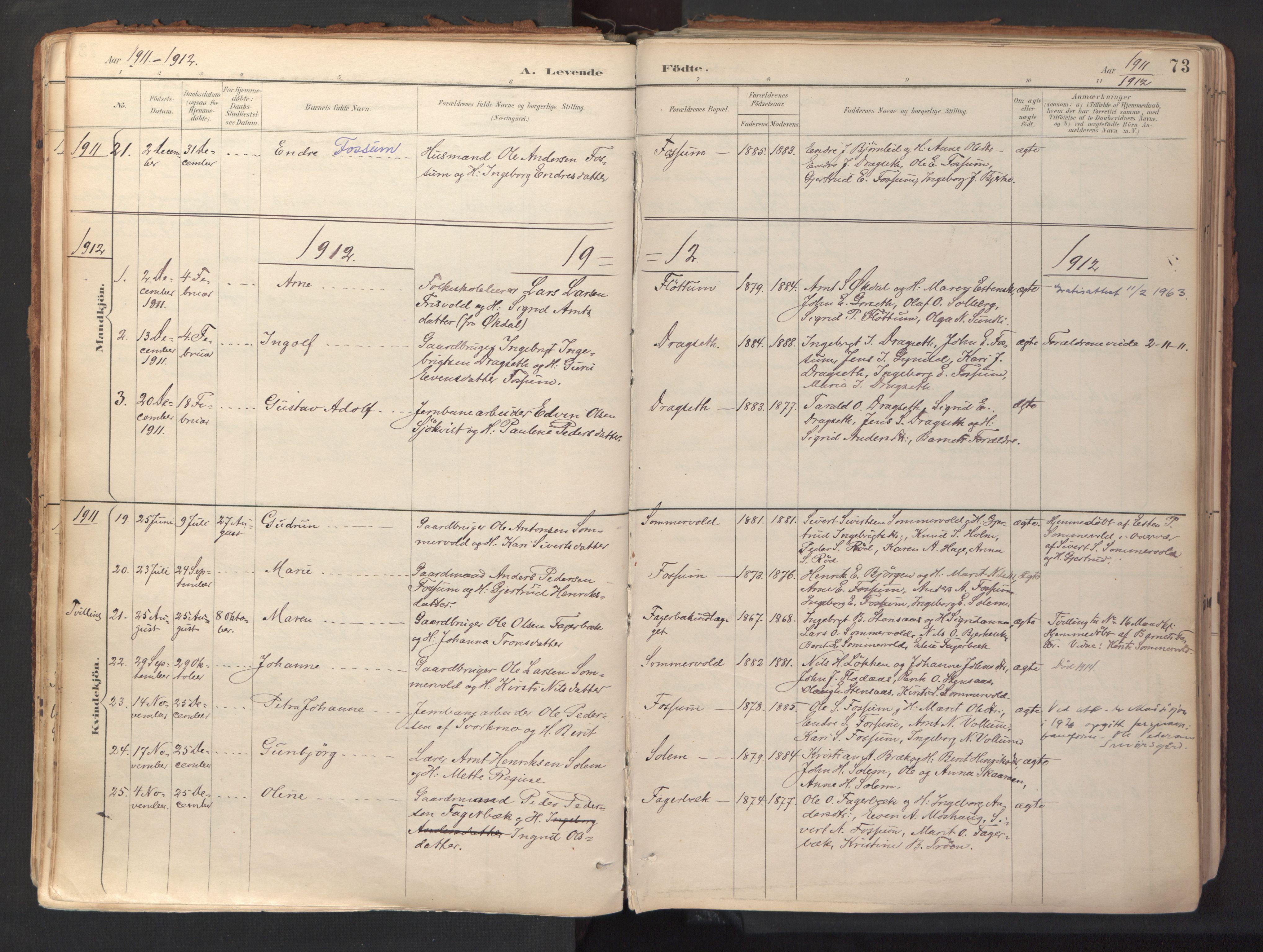 SAT, Ministerialprotokoller, klokkerbøker og fødselsregistre - Sør-Trøndelag, 689/L1041: Ministerialbok nr. 689A06, 1891-1923, s. 73