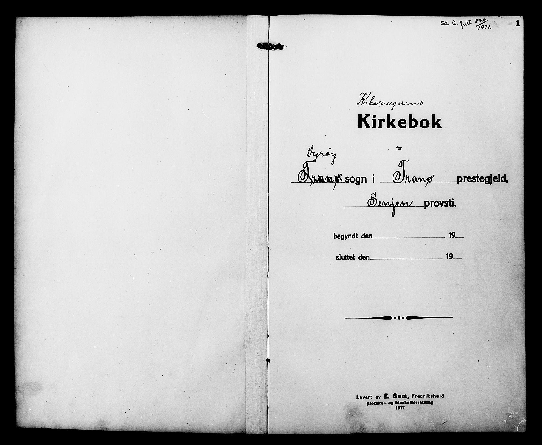 SATØ, Tranøy sokneprestkontor, I/Ia/Iab/L0015klokker: Klokkerbok nr. 15, 1918-1930, s. 1