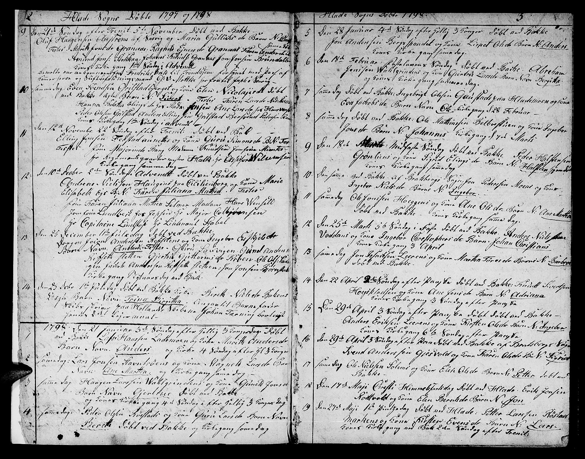 SAT, Ministerialprotokoller, klokkerbøker og fødselsregistre - Sør-Trøndelag, 606/L0306: Klokkerbok nr. 606C02, 1797-1829, s. 2-3