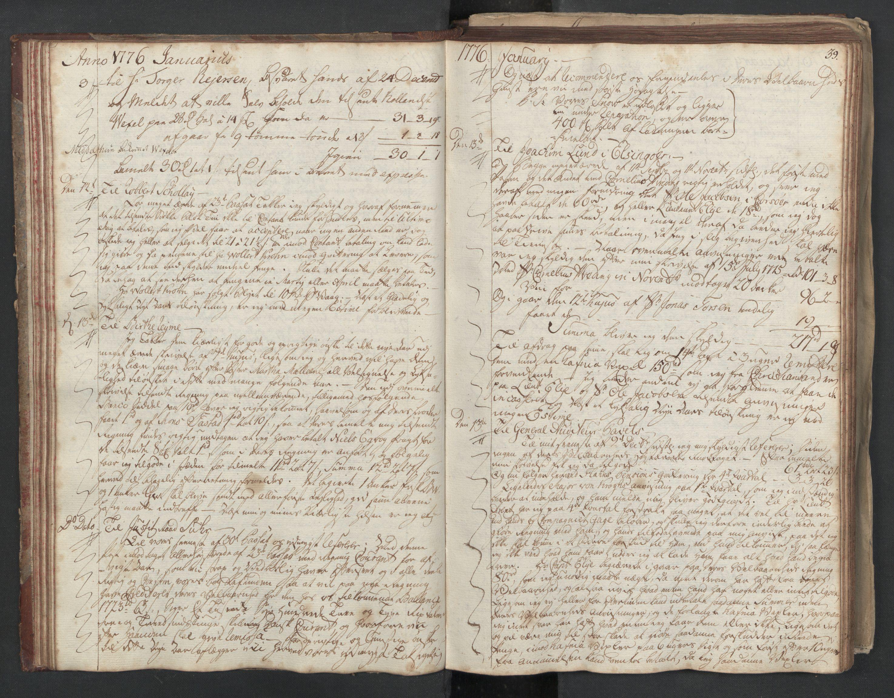 SAST, Pa 0003 - Ploug & Sundt, handelshuset, B/L0003: Kopibok, 1775-1780, s. 38b-39a