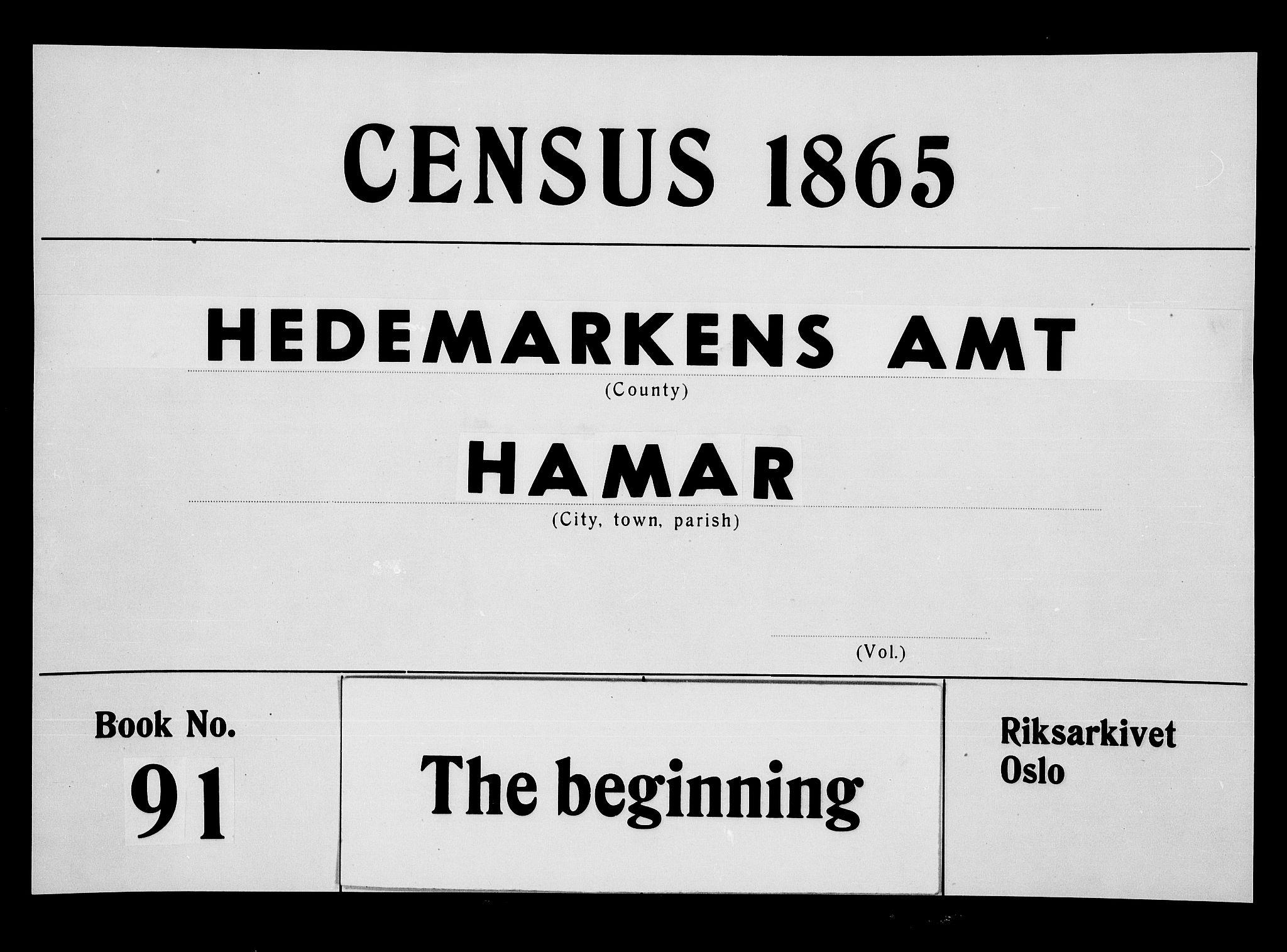 RA, Folketelling 1865 for 0401B Vang prestegjeld, Hamar kjøpstad, 1865, s. 1