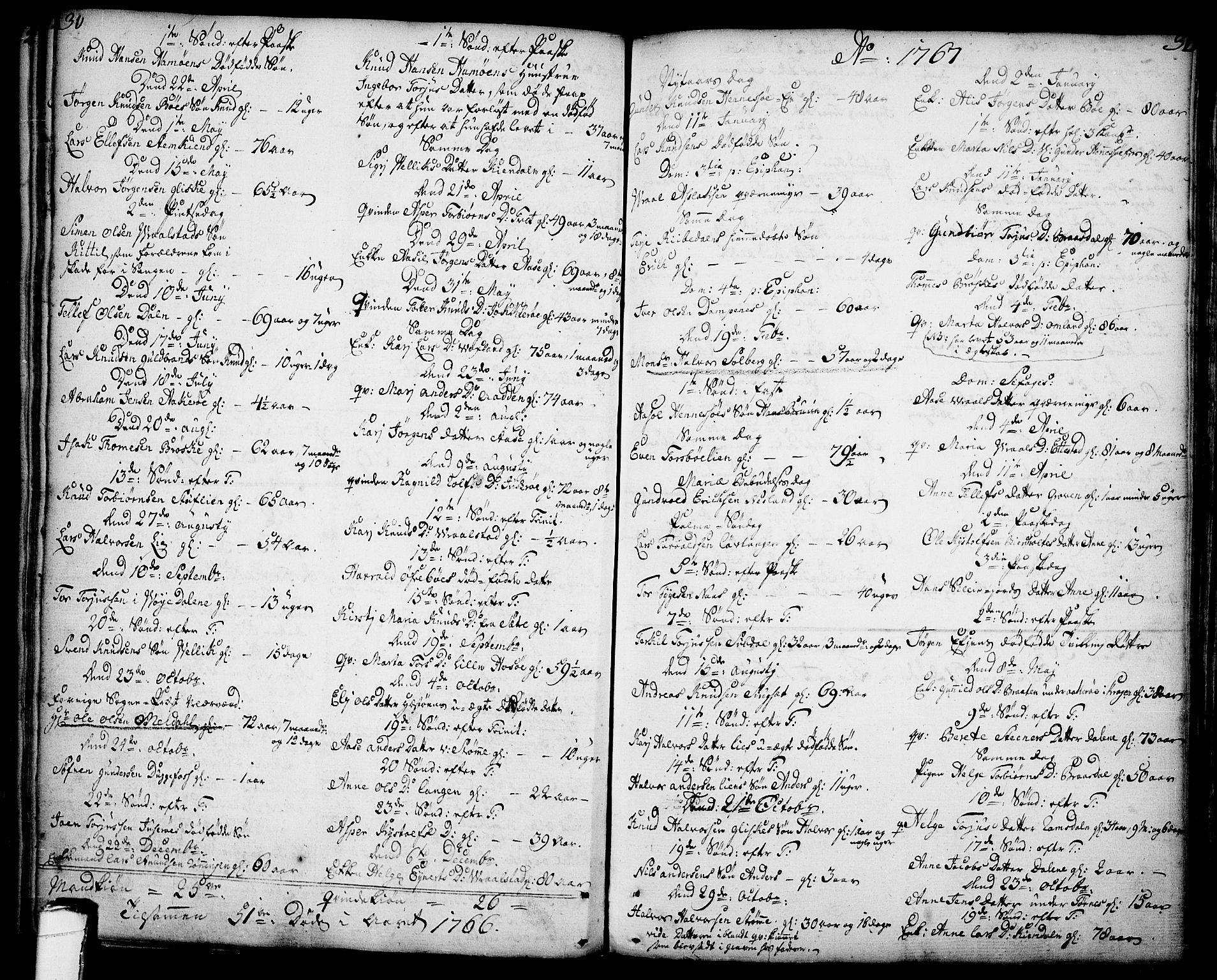 SAKO, Drangedal kirkebøker, F/Fa/L0001: Ministerialbok nr. 1, 1697-1767, s. 30-31