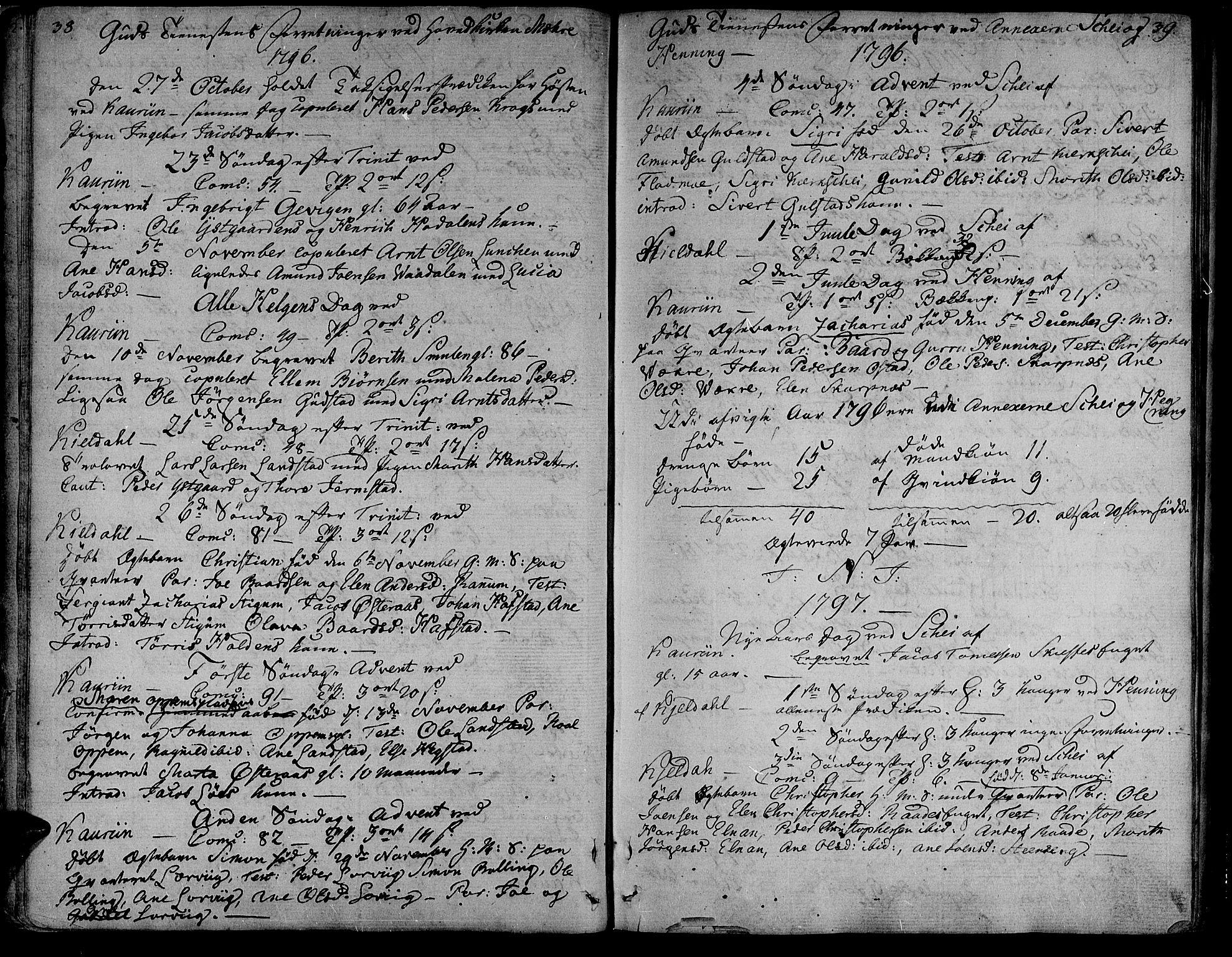 SAT, Ministerialprotokoller, klokkerbøker og fødselsregistre - Nord-Trøndelag, 735/L0332: Ministerialbok nr. 735A03, 1795-1816, s. 38-39