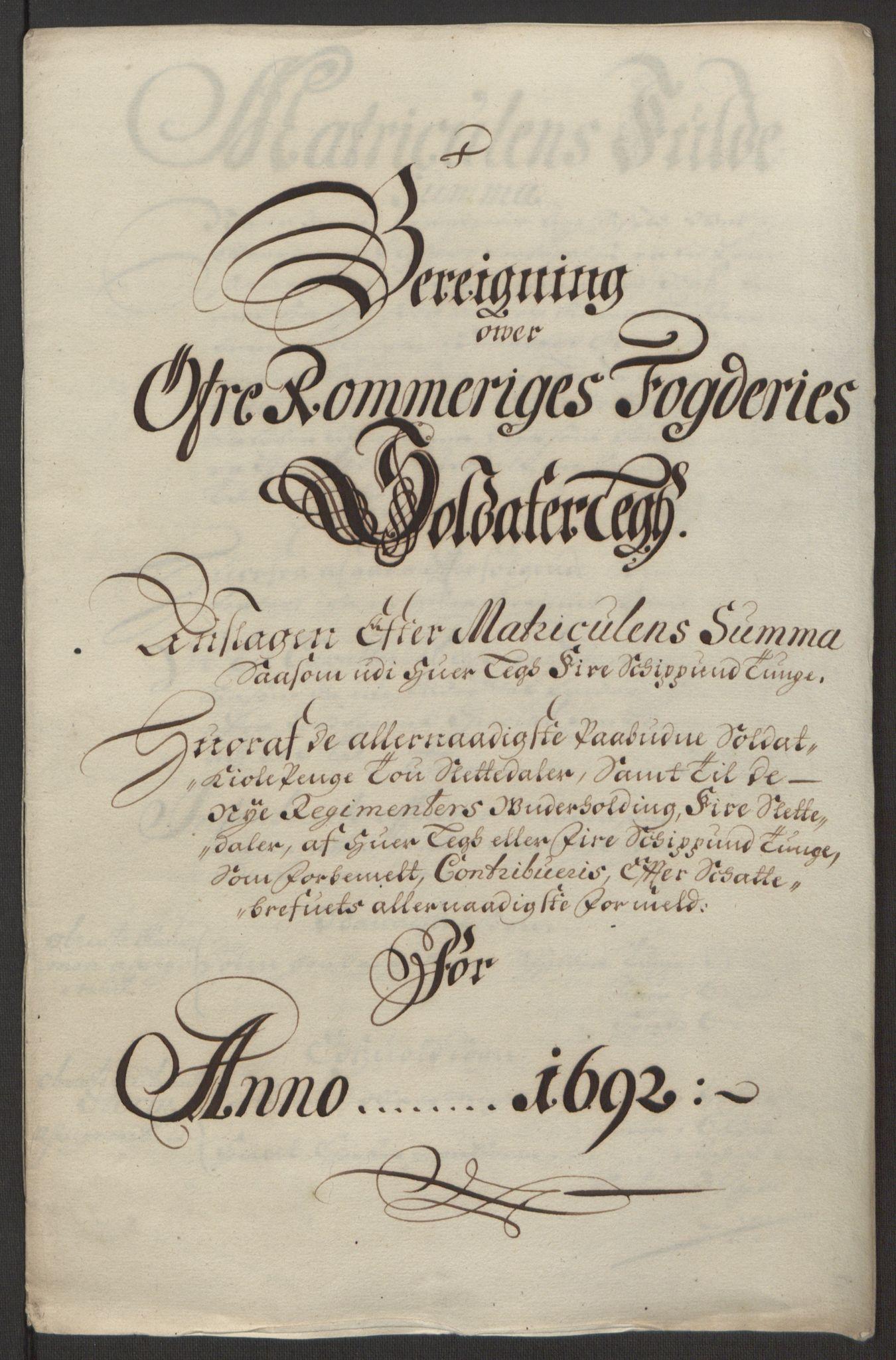 RA, Rentekammeret inntil 1814, Reviderte regnskaper, Fogderegnskap, R12/L0704: Fogderegnskap Øvre Romerike, 1692, s. 223