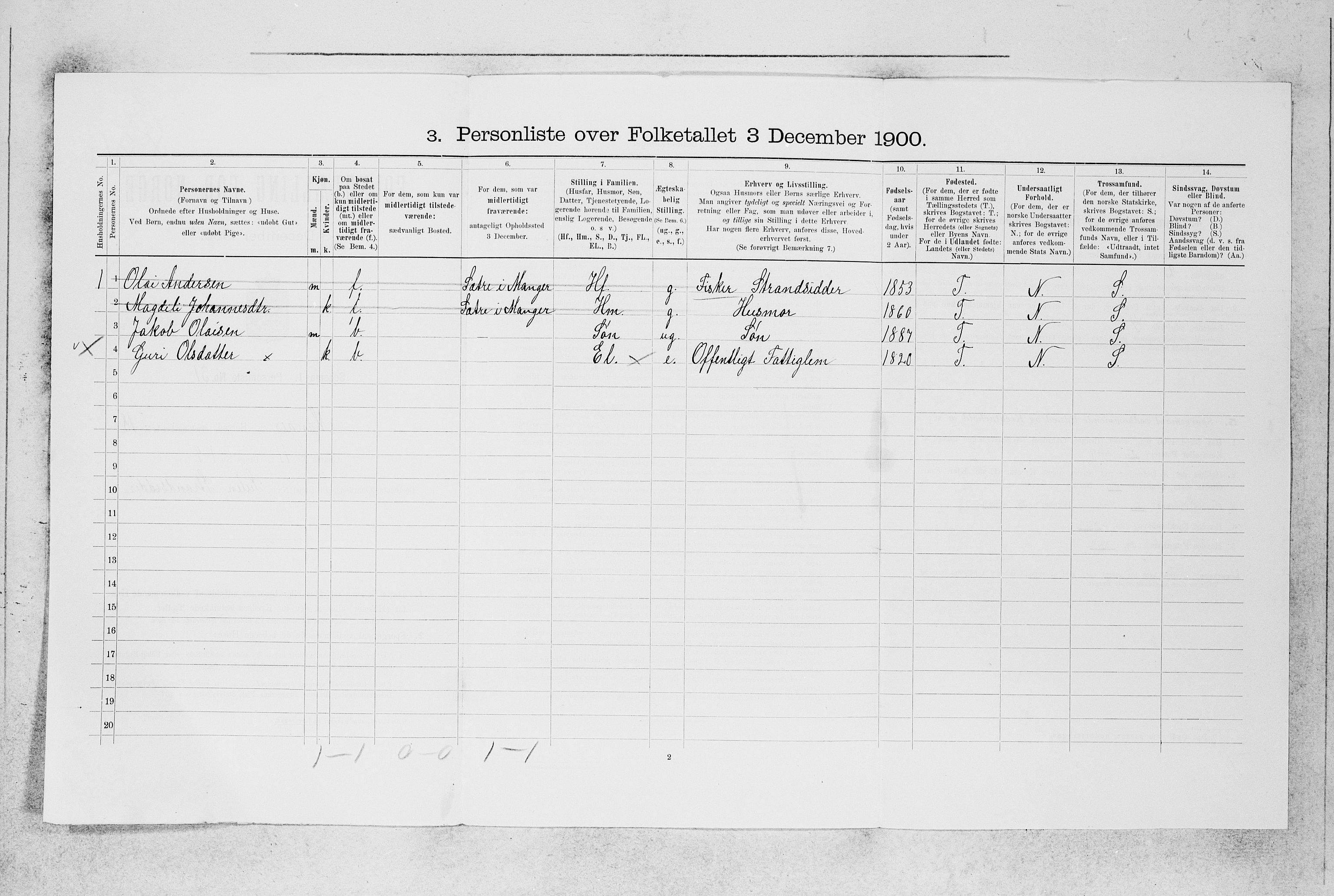 SAB, Folketelling 1900 for 1261 Manger herred, 1900, s. 123