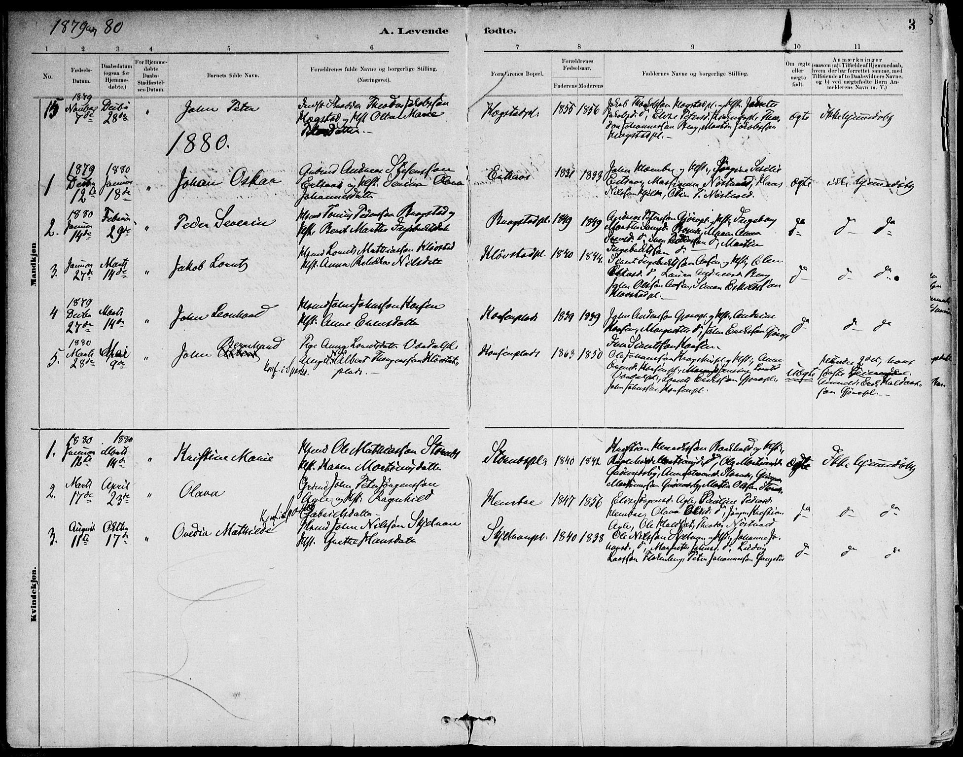 SAT, Ministerialprotokoller, klokkerbøker og fødselsregistre - Nord-Trøndelag, 732/L0316: Ministerialbok nr. 732A01, 1879-1921, s. 3