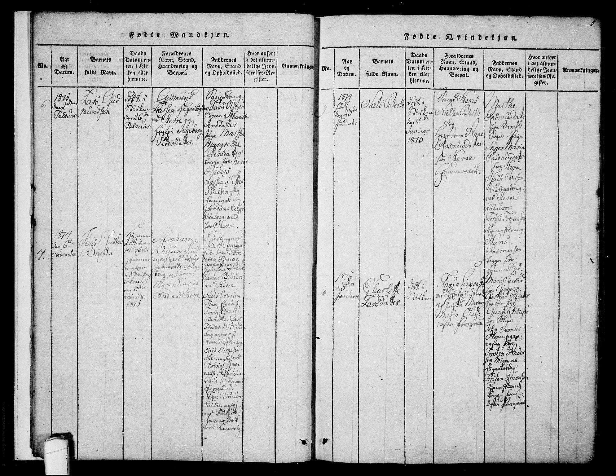 SAKO, Porsgrunn kirkebøker , F/Fa/L0004: Ministerialbok nr. 4, 1814-1828, s. 5