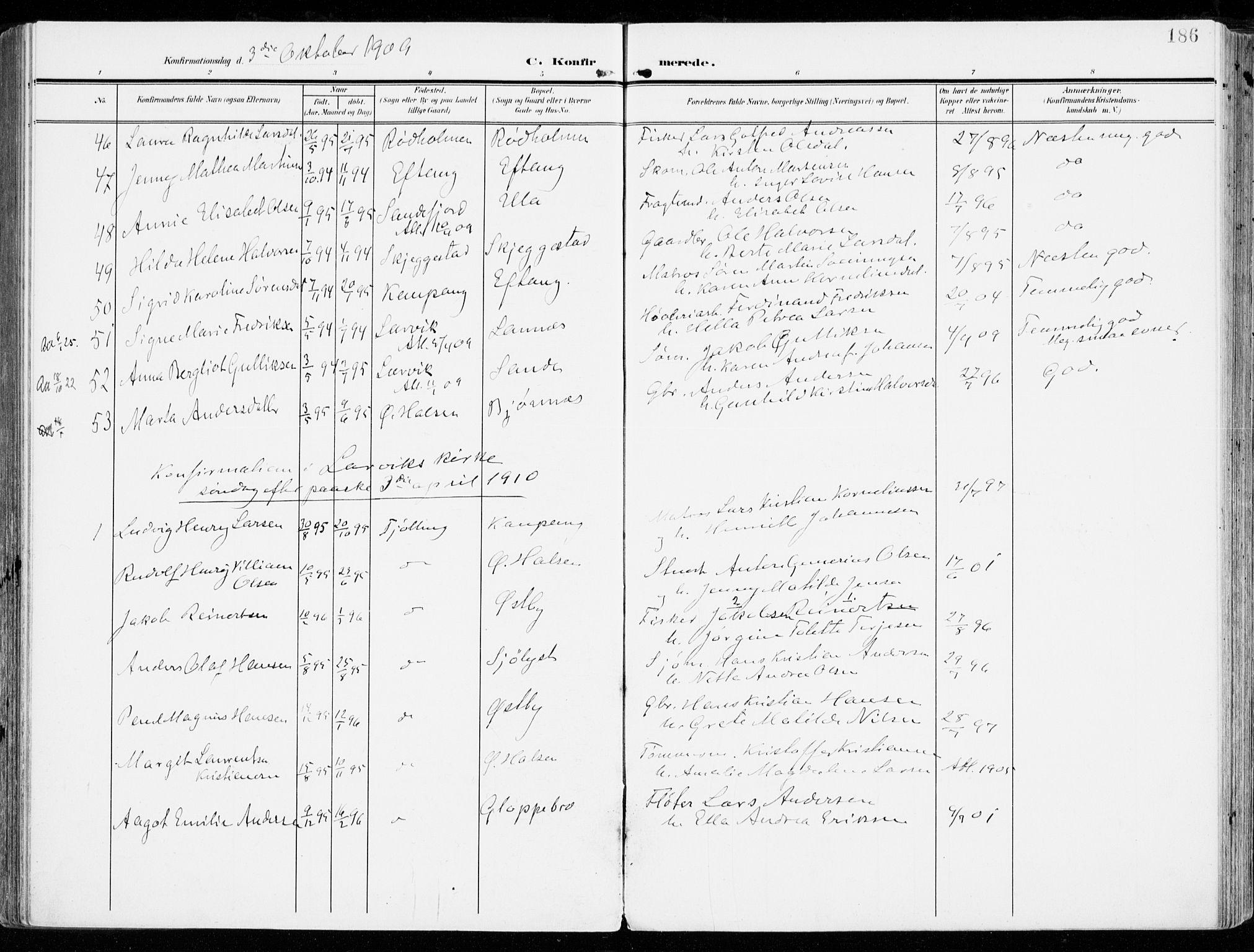 SAKO, Tjølling kirkebøker, F/Fa/L0010: Ministerialbok nr. 10, 1906-1923, s. 186